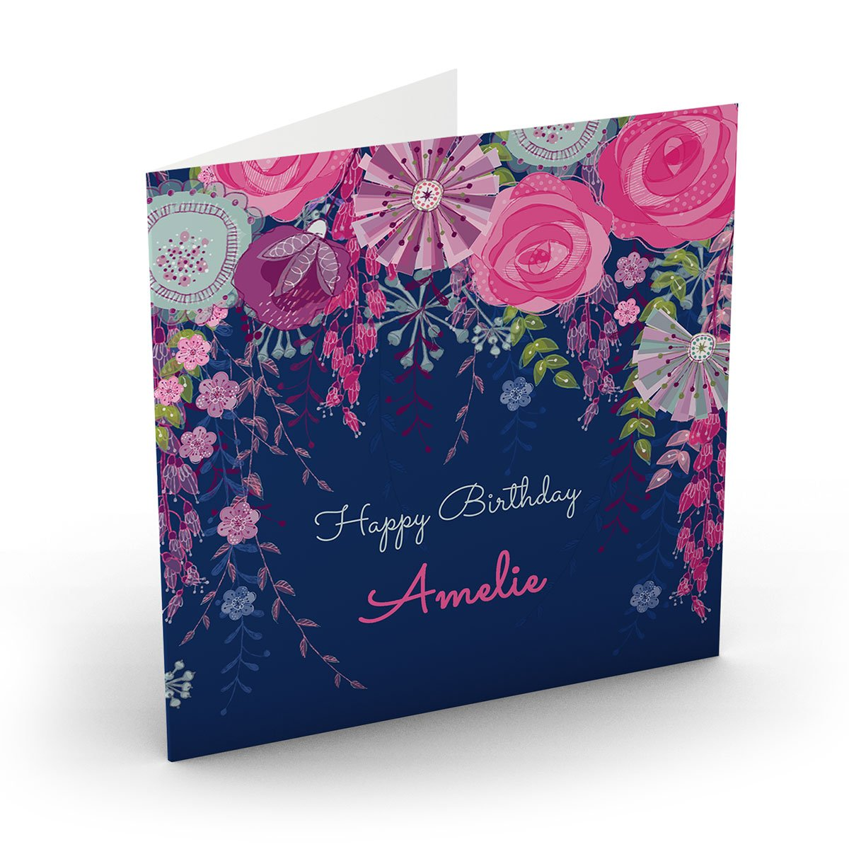 Personalised Nik Golesworthy Birthday Card - Pink & Navy Floral