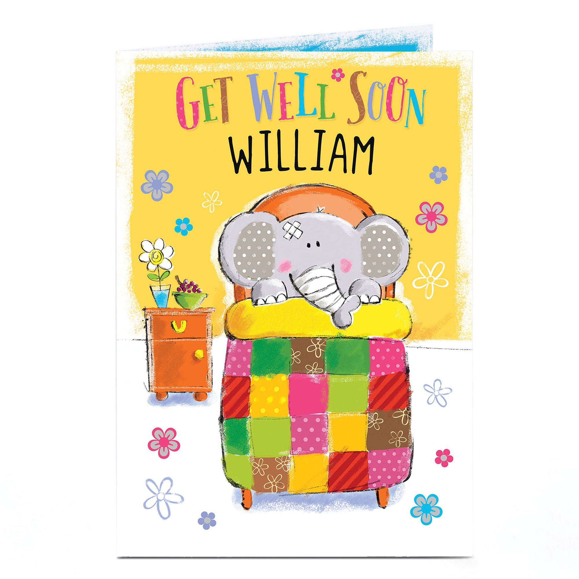 Personalised Get Well Soon Card - Poorly Elephant