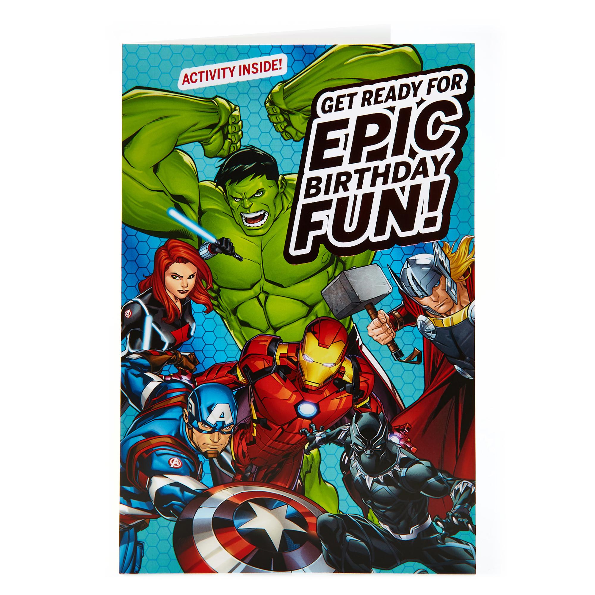 buy marvel avengers birthday card  activity inside for