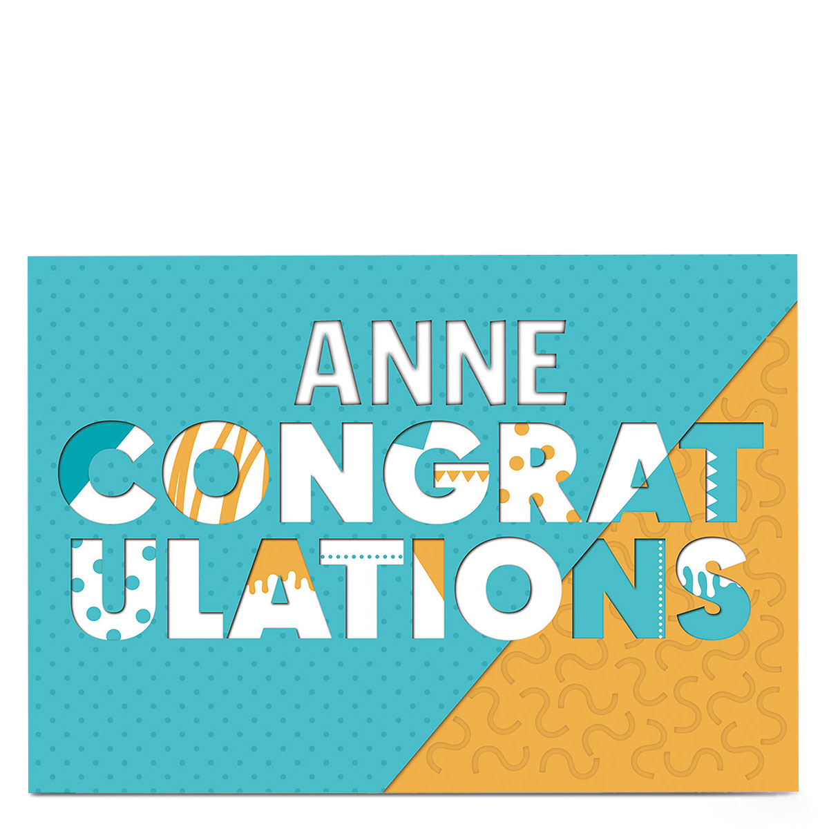 Personalised Congratulations Card - Blue And Yellow