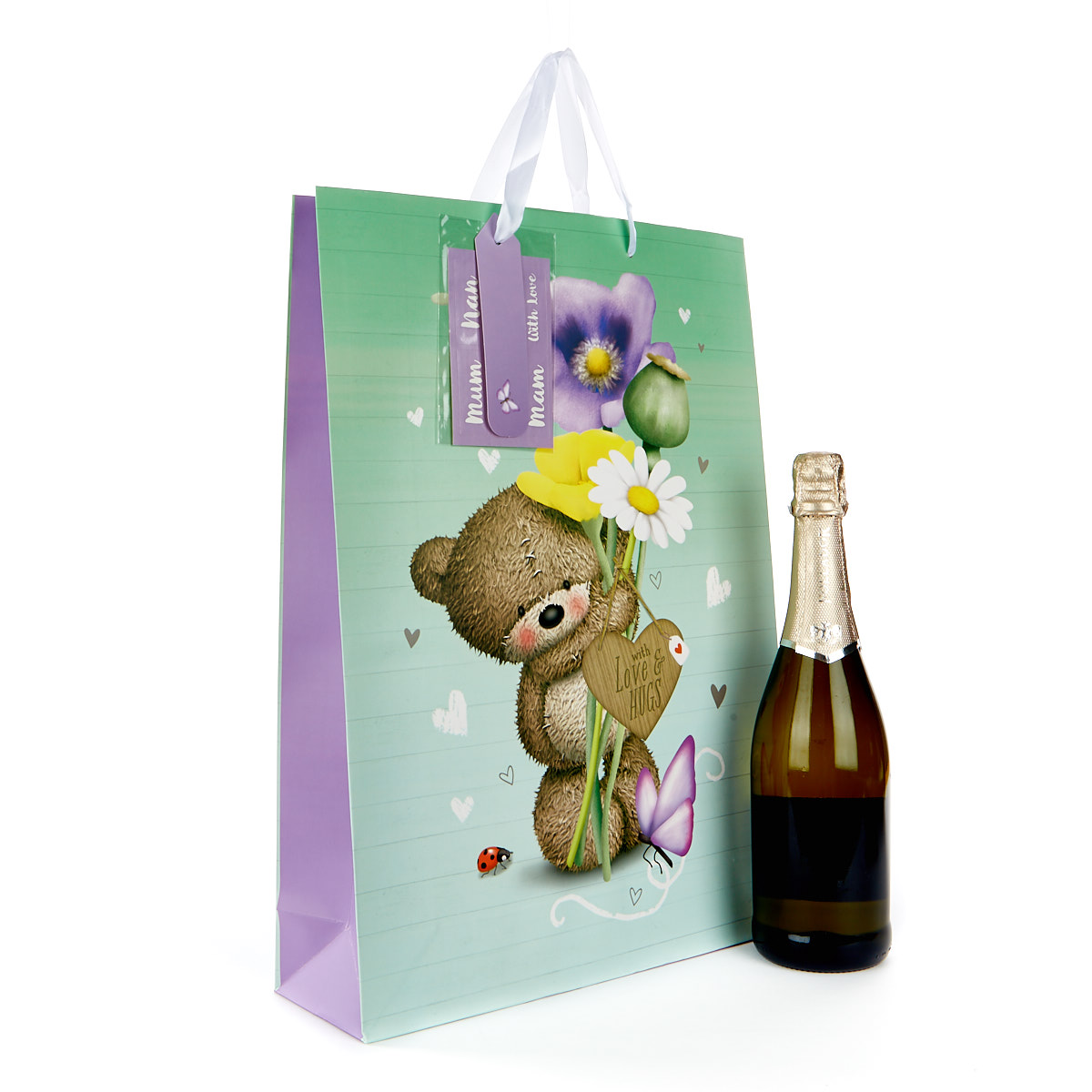 Large Hugs Bear Gift Bag With Stickers