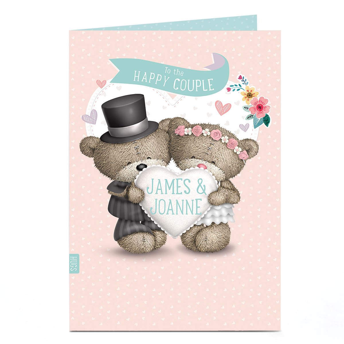 Personalised Hugs Bear Wedding Card - Bride & Groom