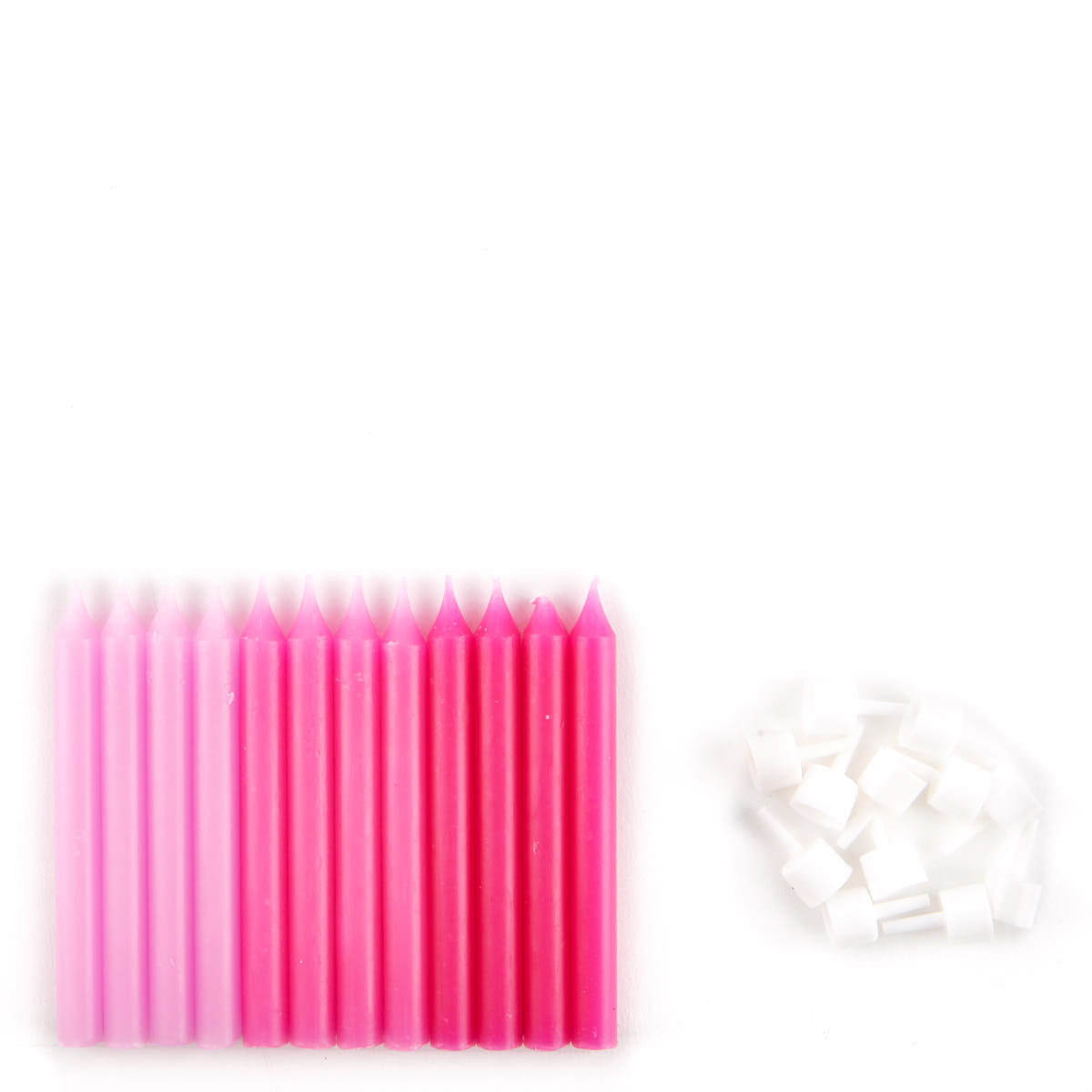 Large Pink Birthday Candles & Holders - Pack Of 12