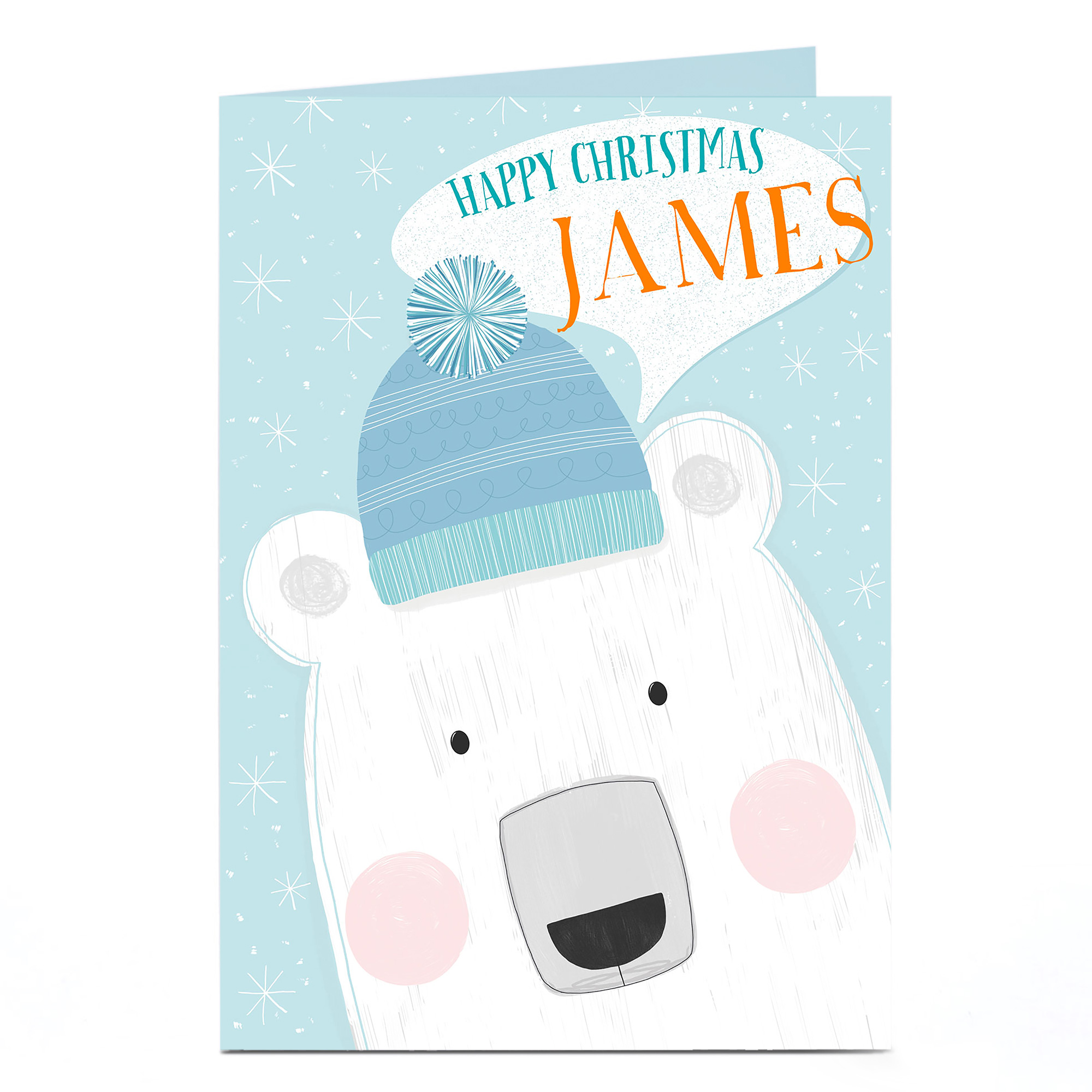 Personalised Christmas Card - Peering Polar Bear