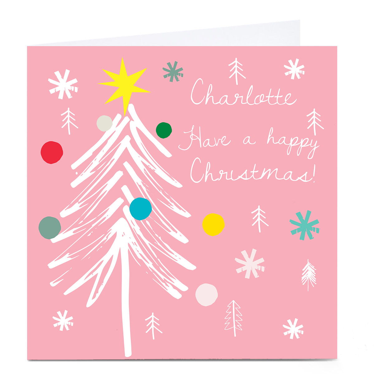 Personalised Squirrel Bandit Christmas Card -  Pink Tree