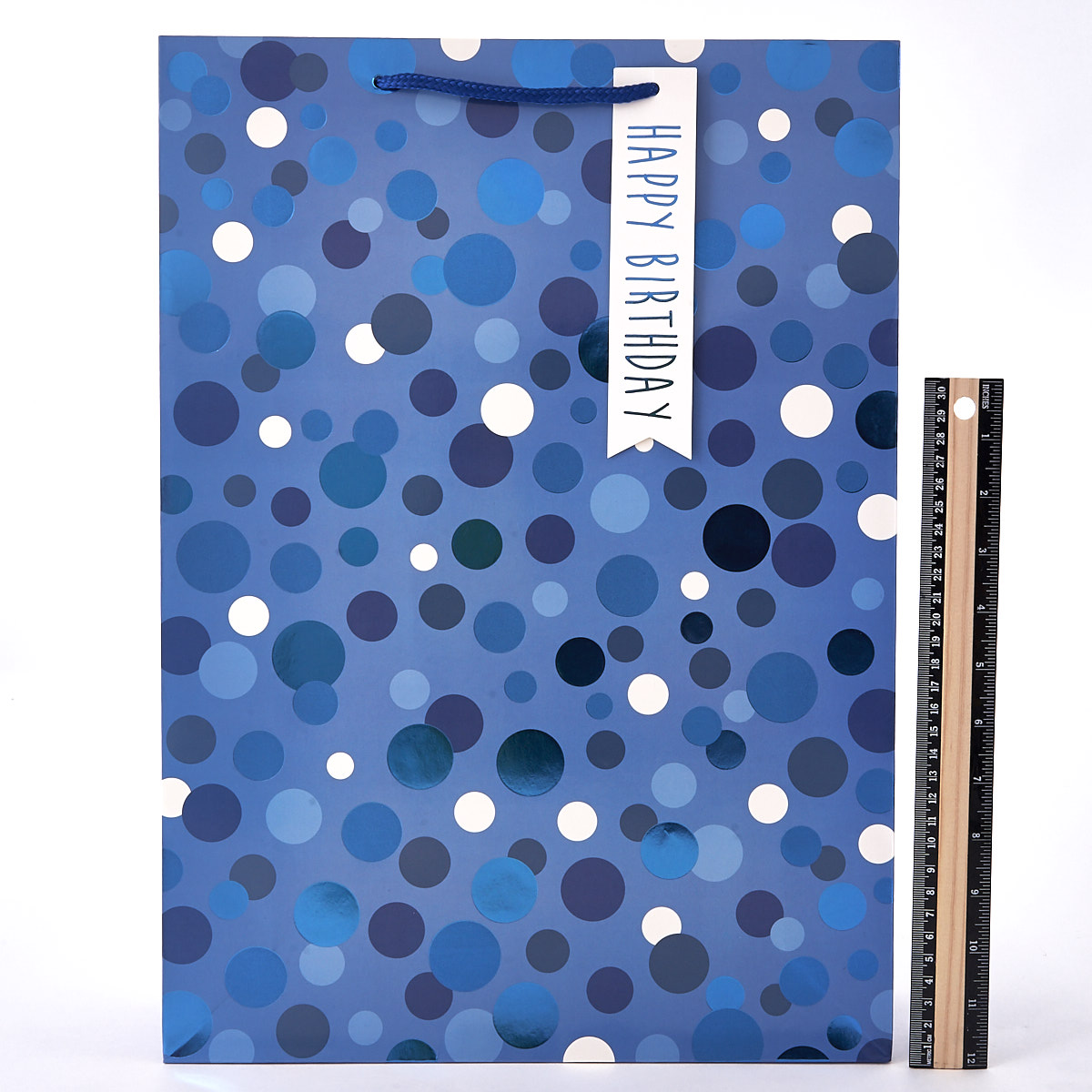 Blue Spotted Foil Happy Birthday Extra Large Gift Bag