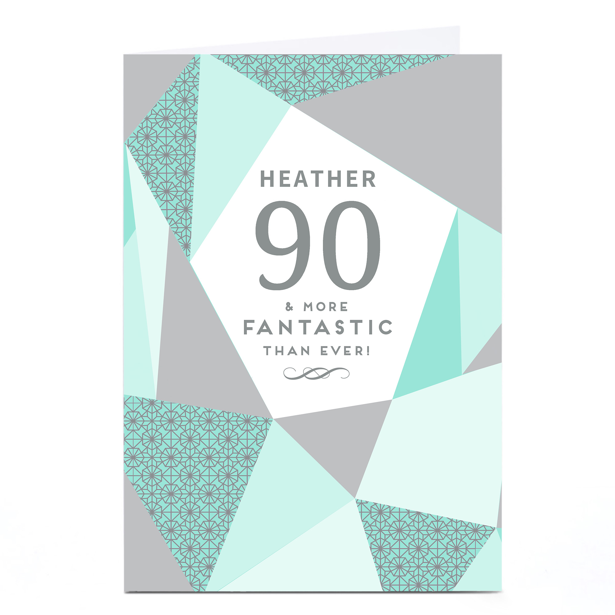 buy personalised 90th birthday card  geometric mint for
