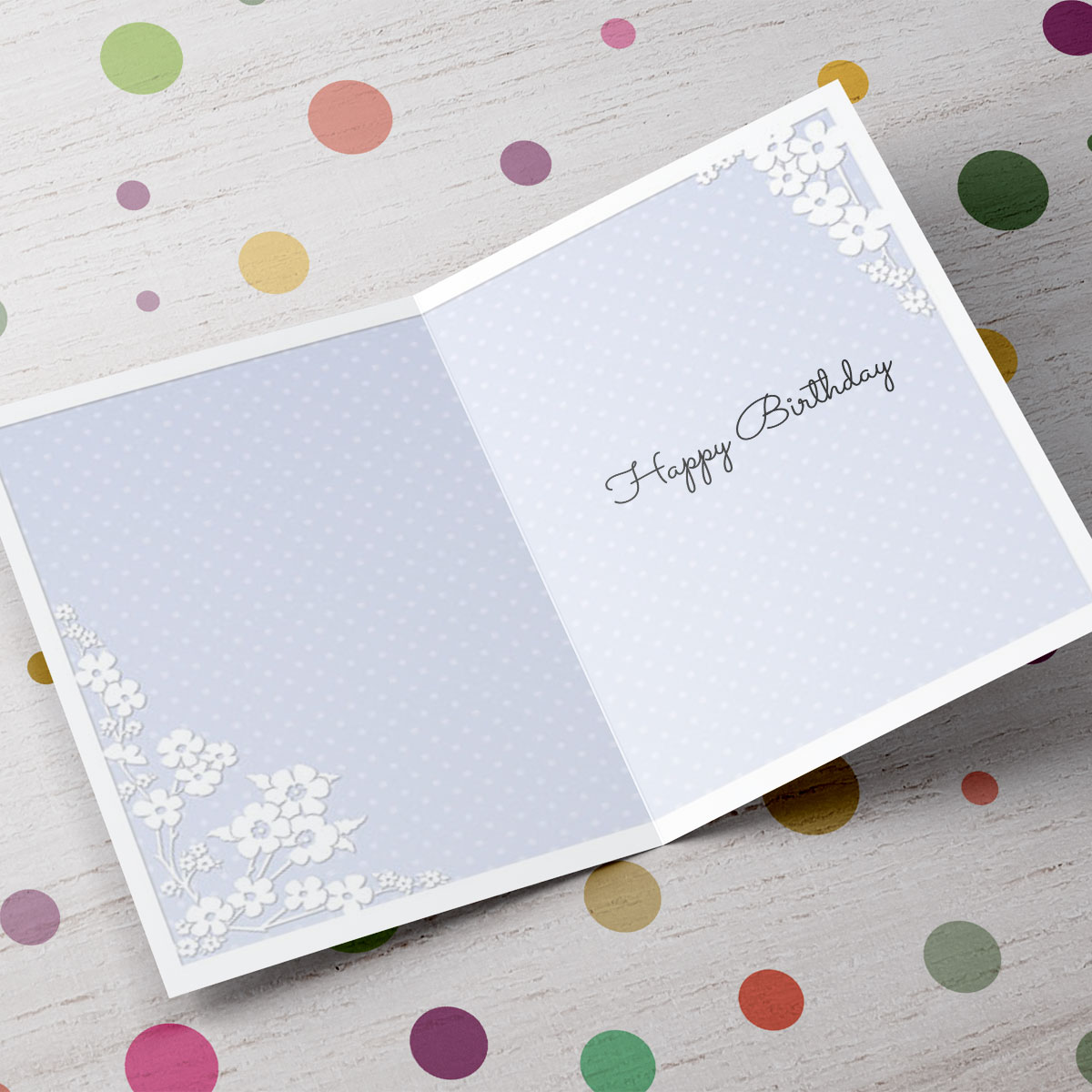 Personalised 50th Birthday Card - Purple & White Flowers