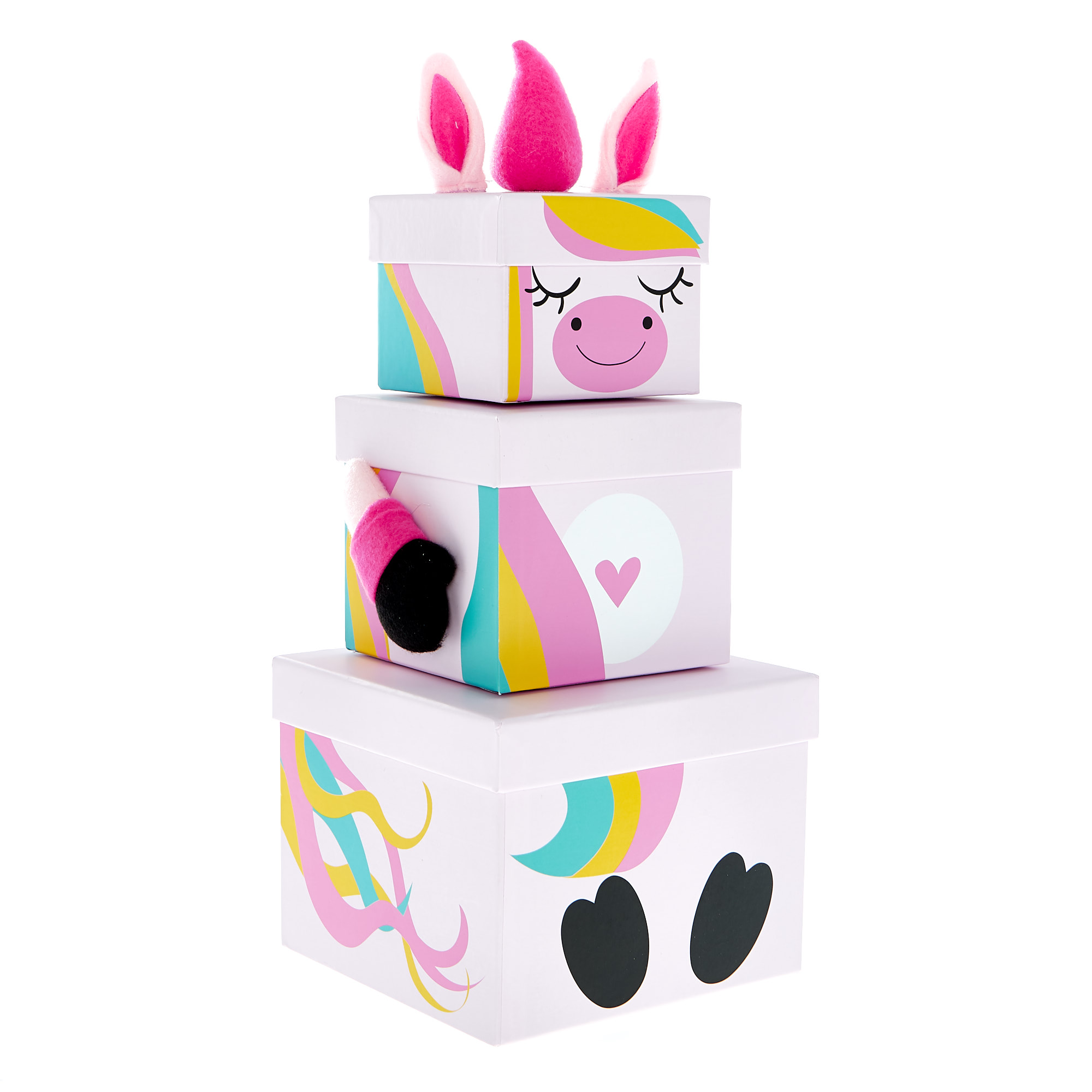 buy stackable plush unicorn gift boxes  set of 3 for gbp