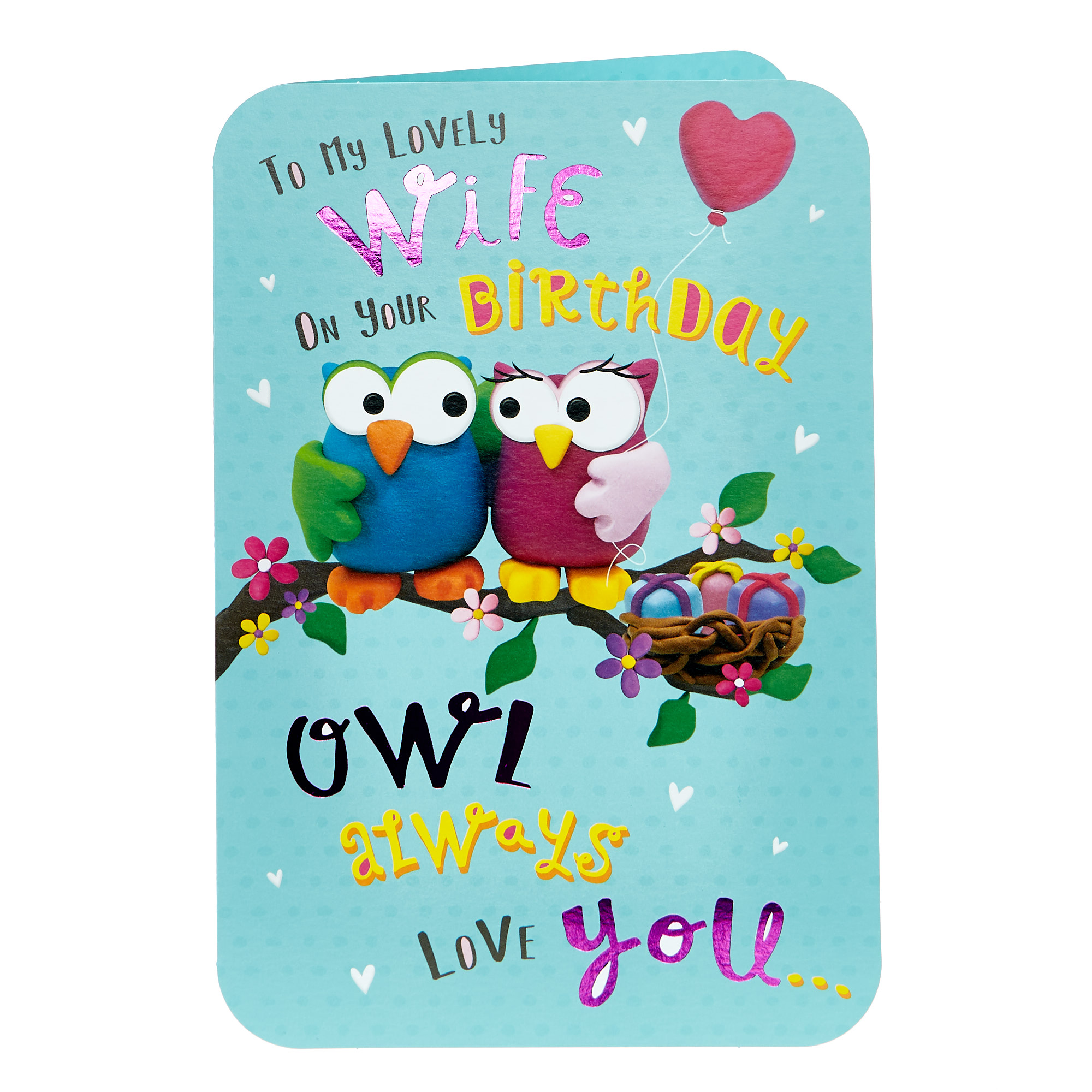 buy birthday card  wife owls for gbp 099  card factory uk