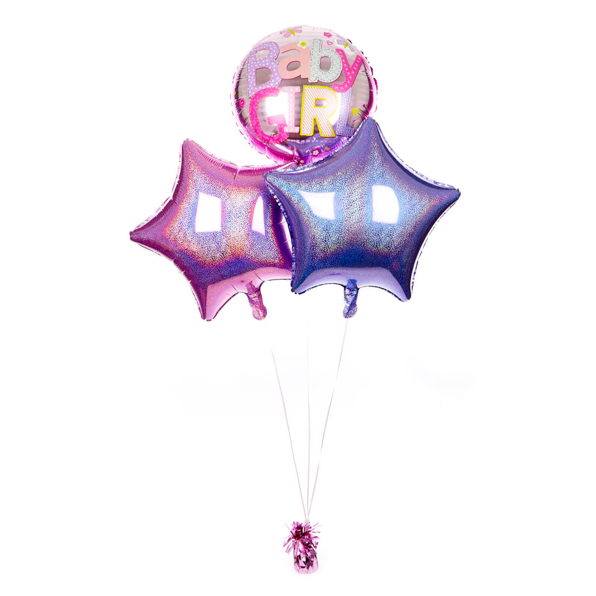 Pink and Lilac Baby Girl Balloon Bouquet - DELIVERED INFLATED!