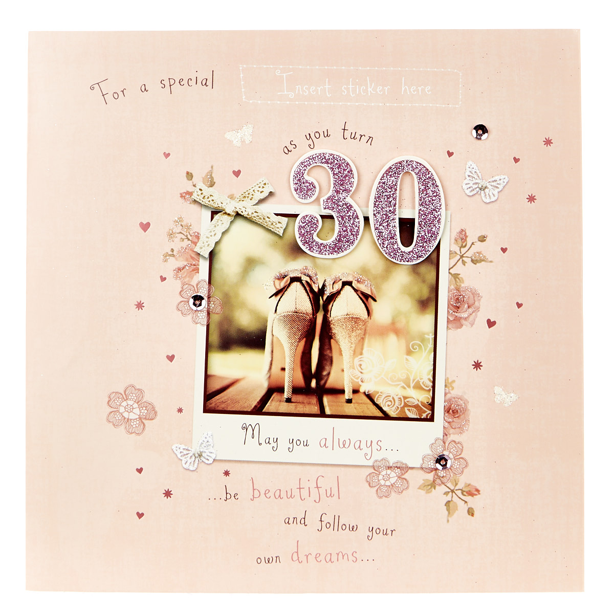 Exquisite Collection 30th Birthday Card - Any Female Recipient (Stickers Included)