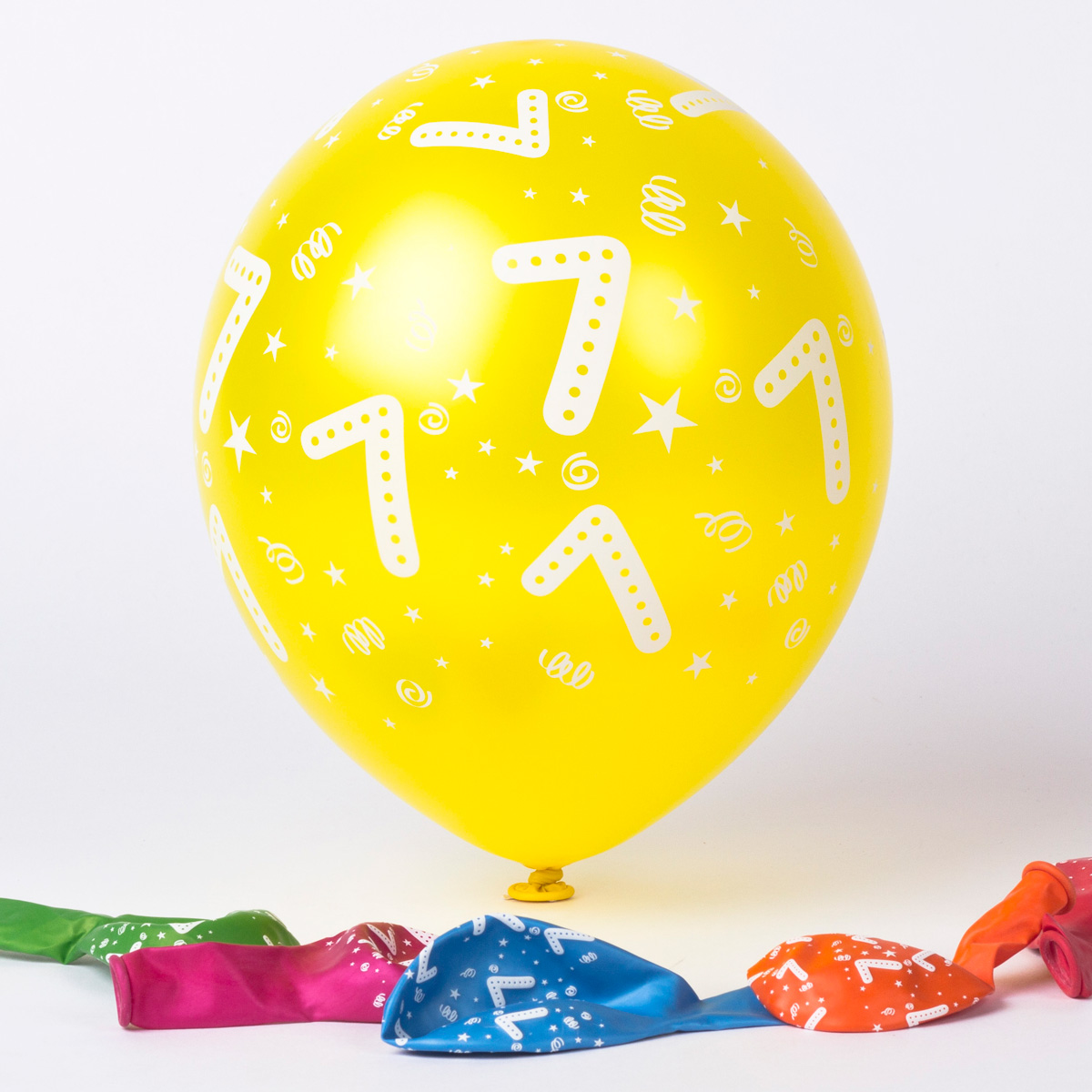 Multicoloured Age 7 Latex Balloons, Pack Of 6