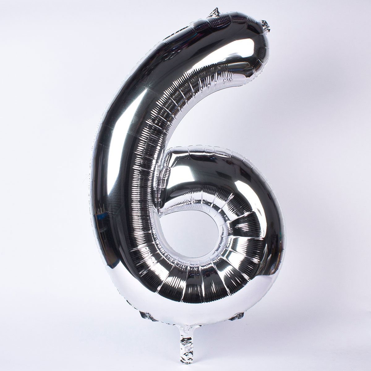 Silver Number 6 Giant Foil Helium Balloon INFLATED