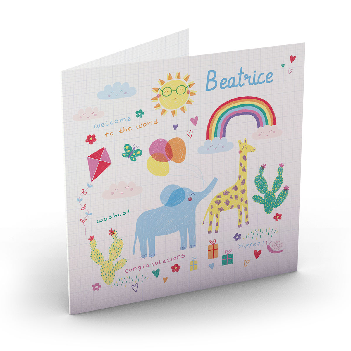Personalised New Baby Card - Welcome To The World Rainbow
