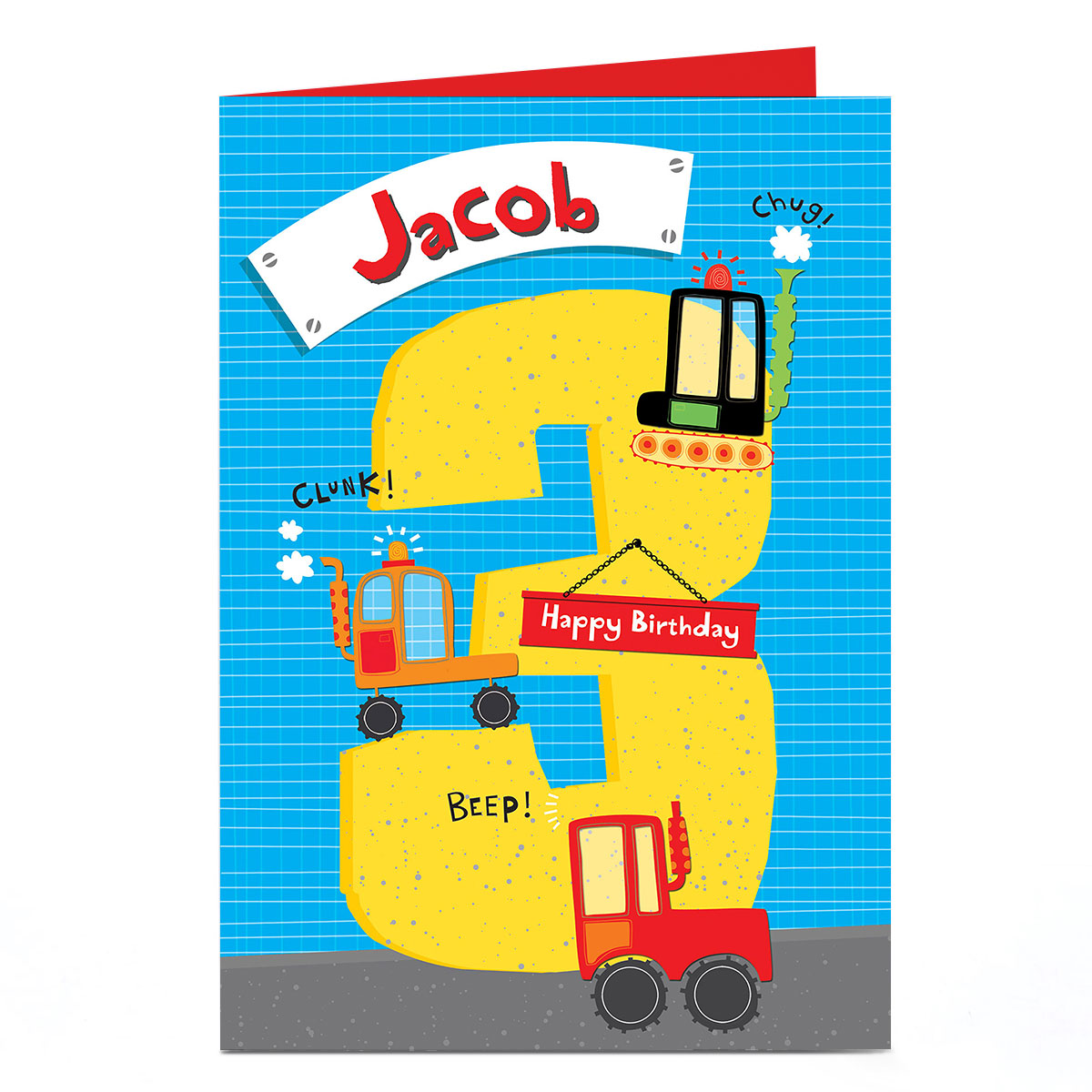 Personalised 3rd Birthday Card - Diggers