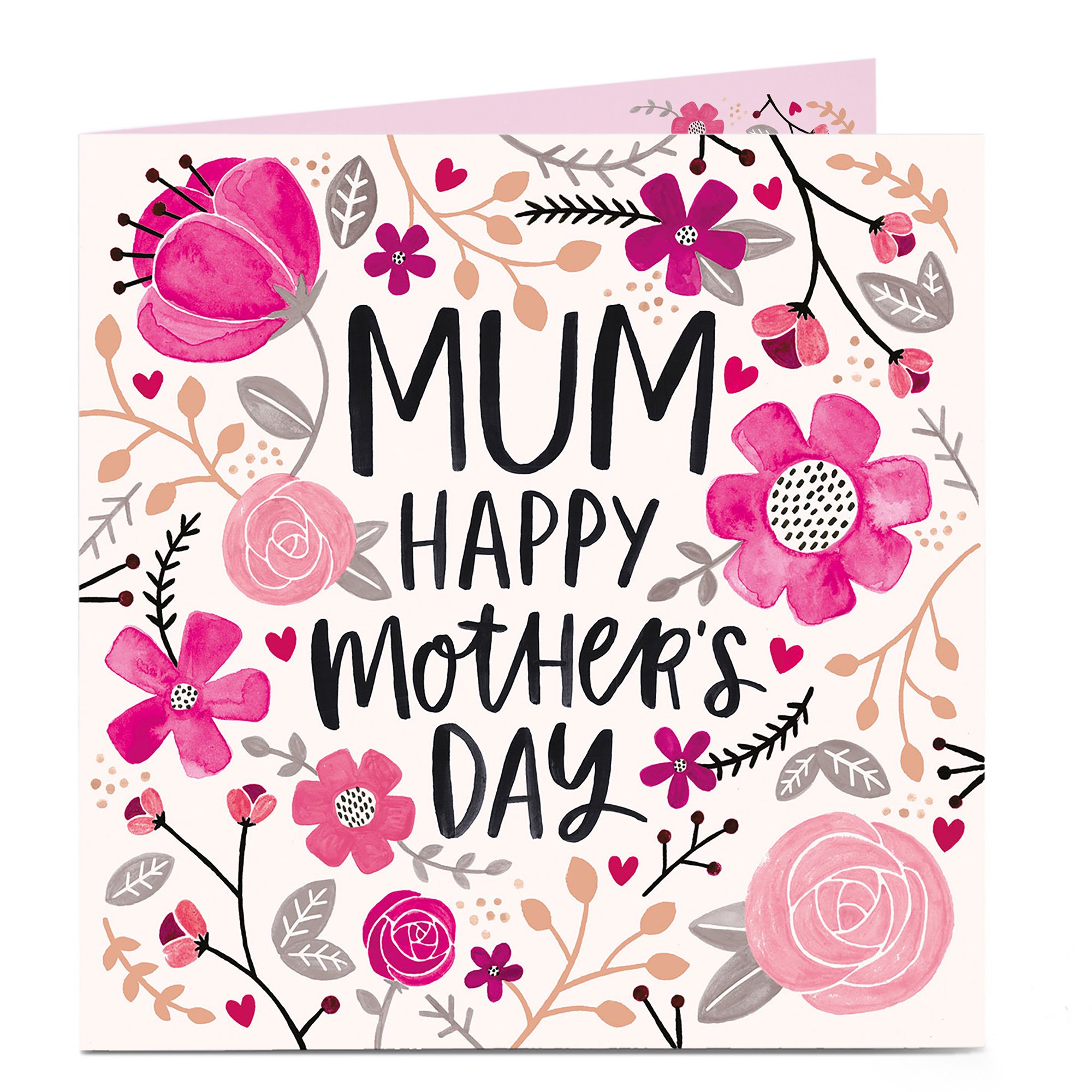 Personalised Mother's Day Charity Card - Pink Florals