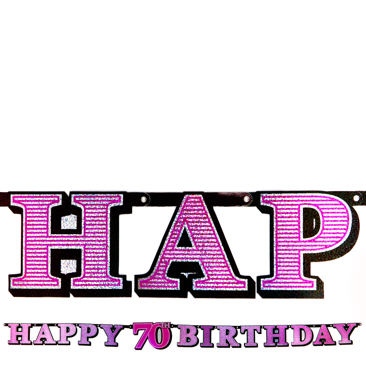 Pink Holographic 70th Birthday Banner