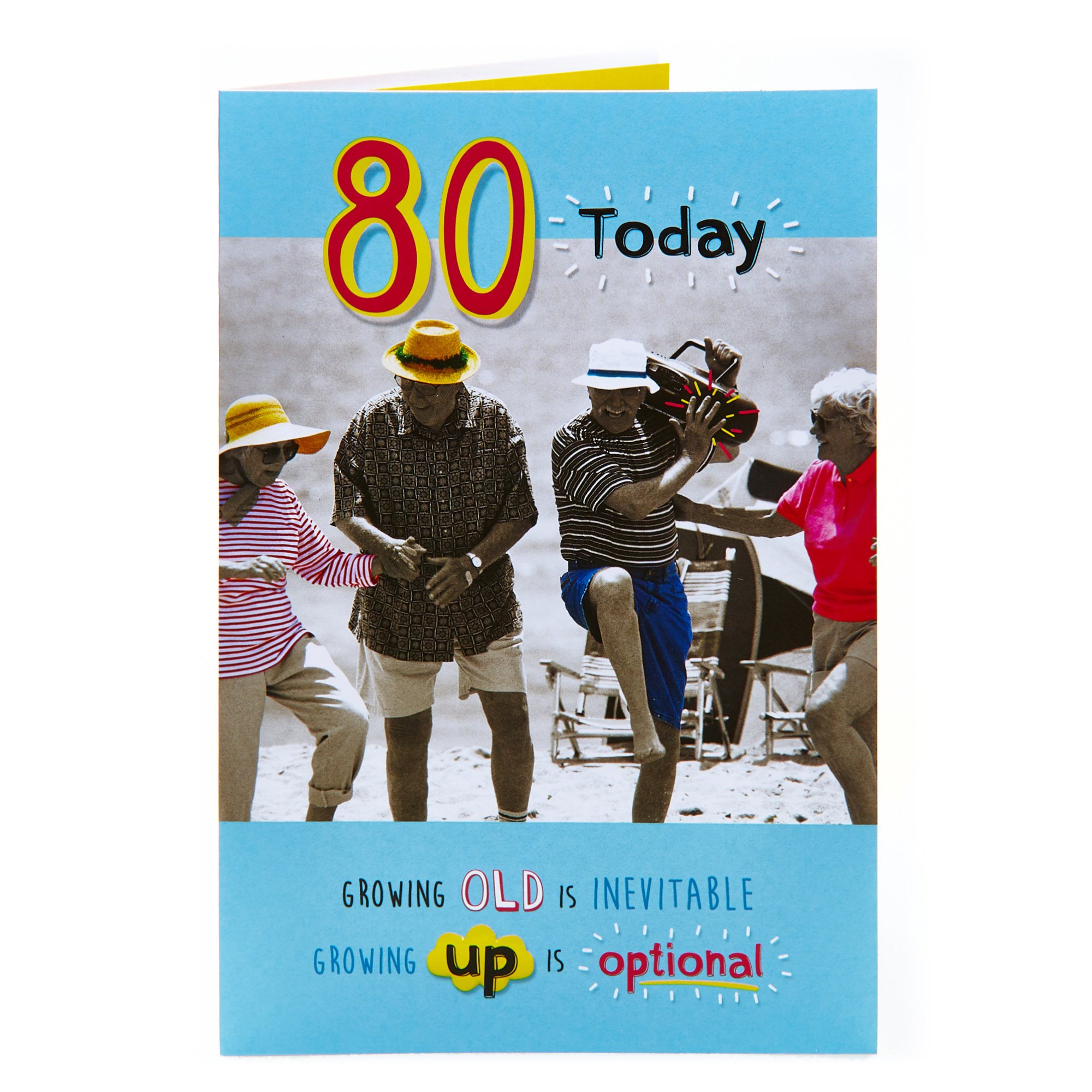 80th Birthday Card - Growing Old Is Inevitable