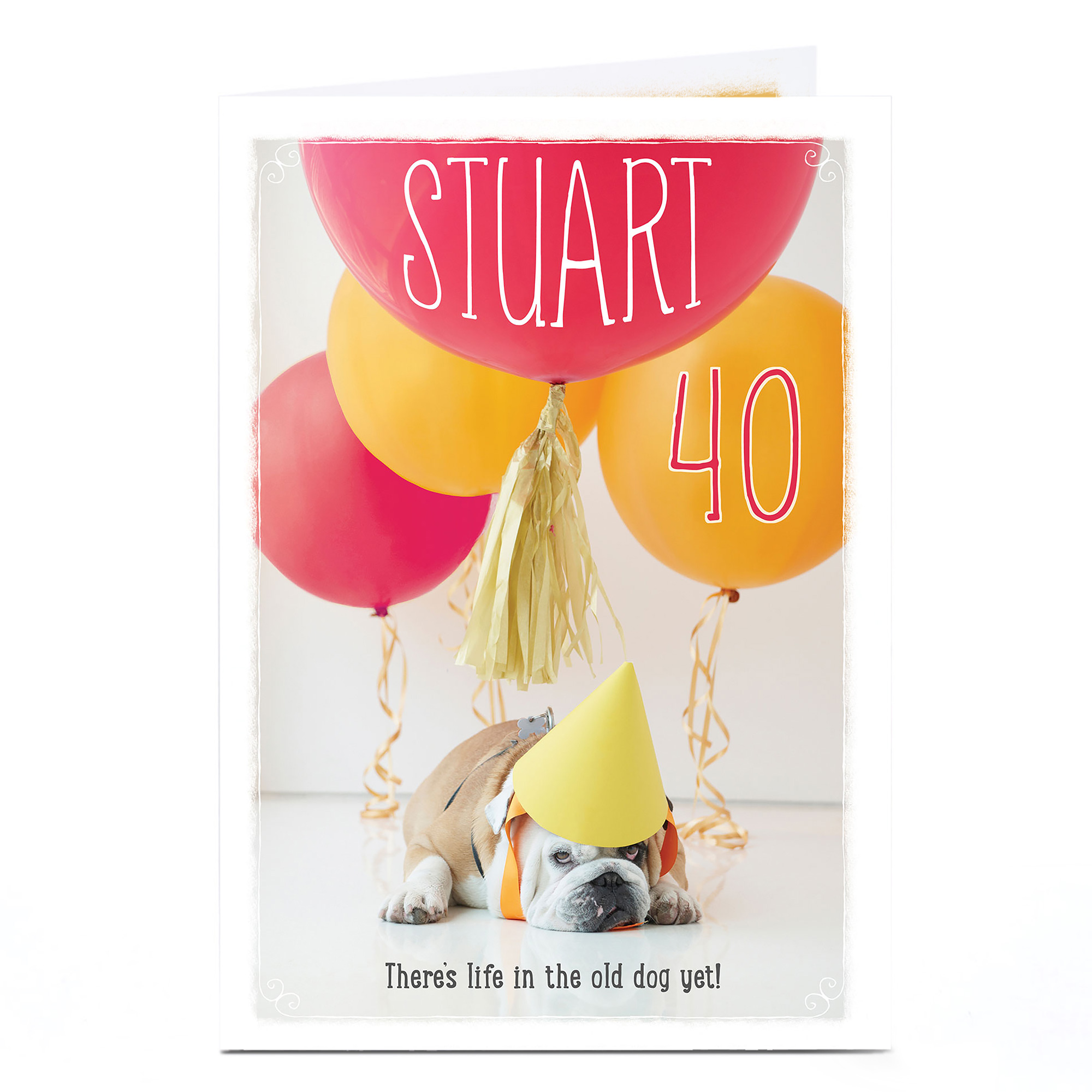 Personalised Any Age Birthday Card - Party Bulldog