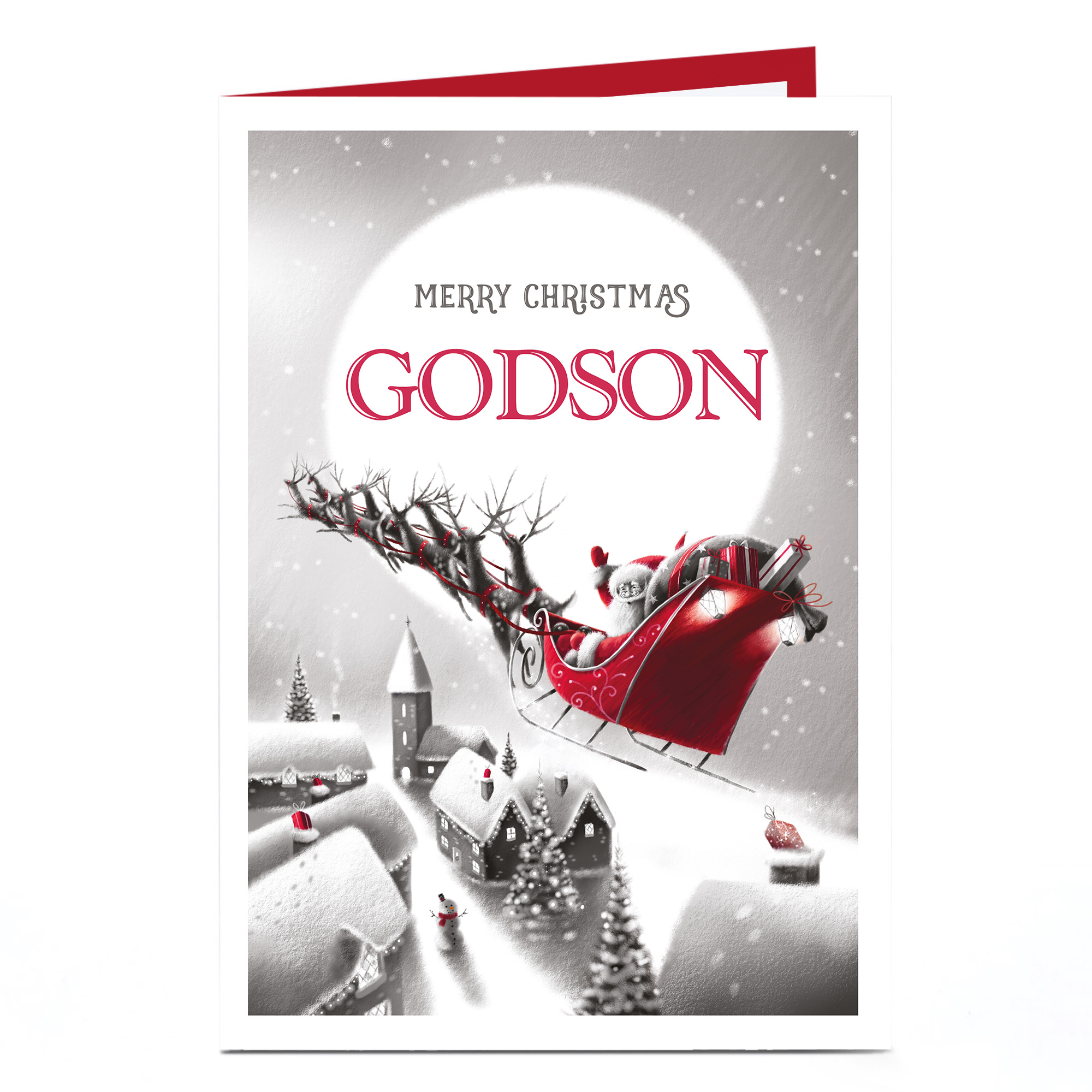 Personalised Christmas Card - Santa's Sleigh Godson