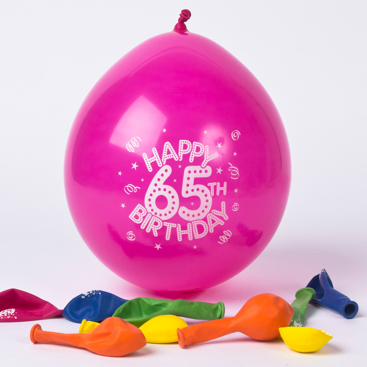 Multicoloured Age 65 Small Latex Balloons, Pack Of 10