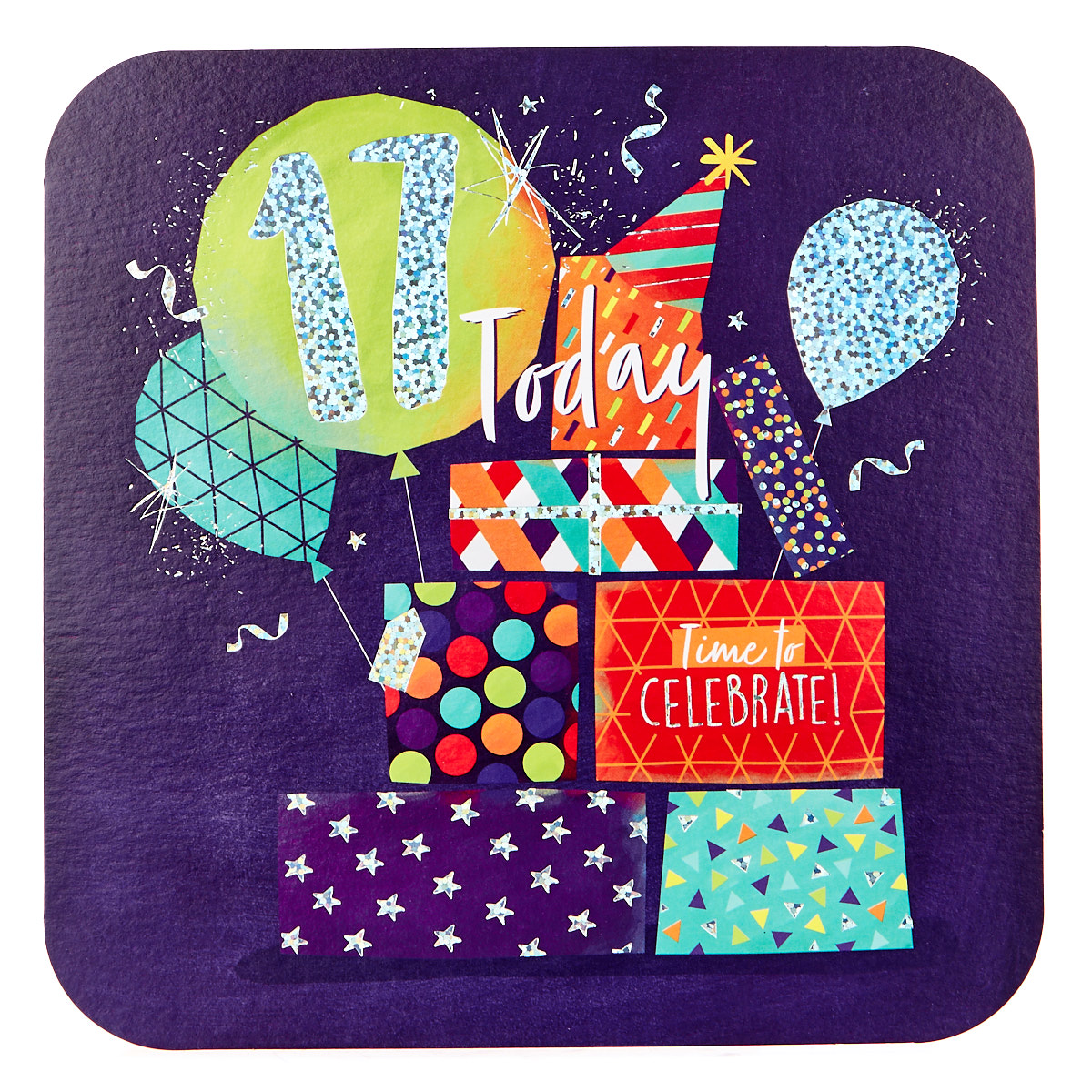 Platinum Collection 17th Birthday Card - Presents & Balloons