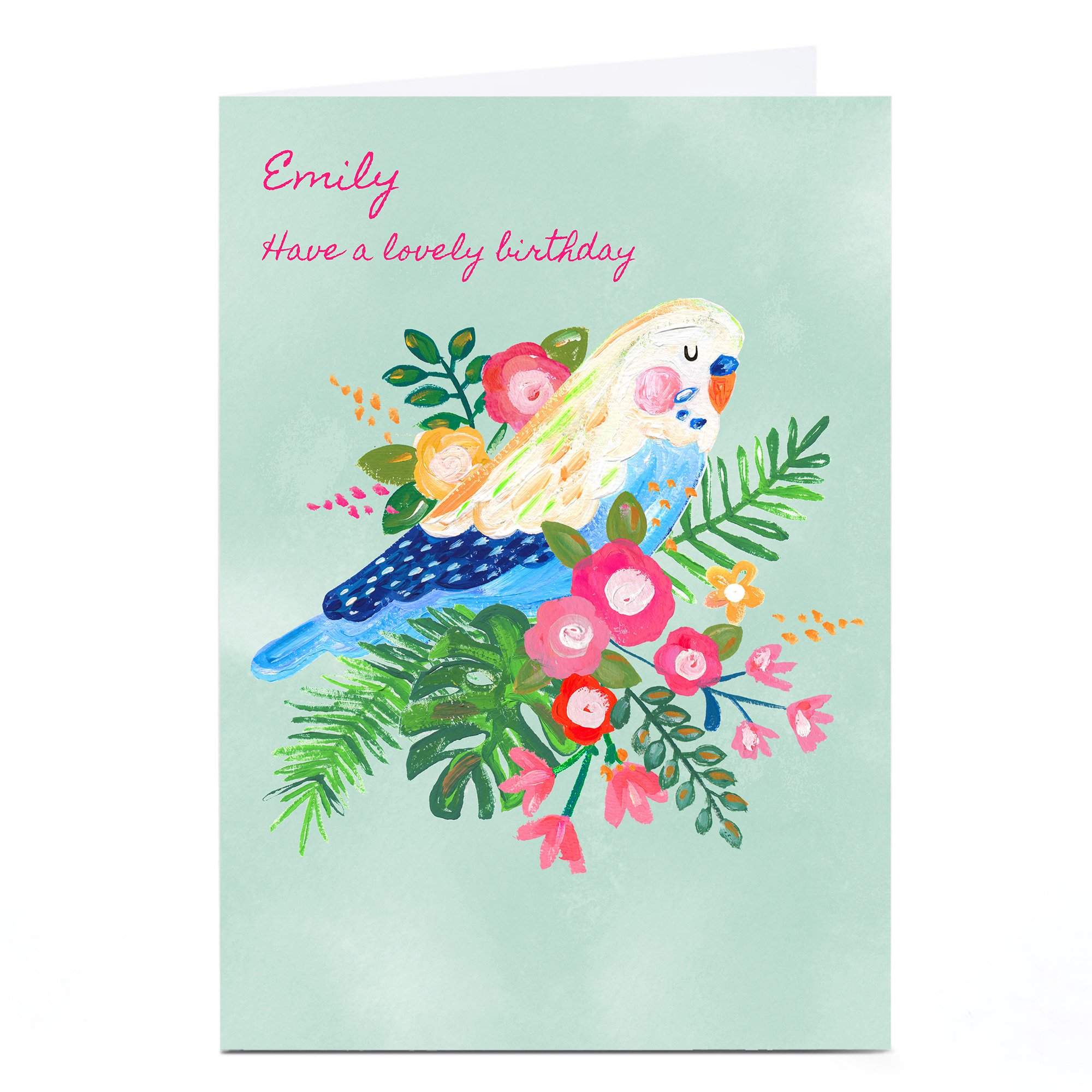 Personalised Kerry Spurling Card - Floral Bird [Any Message]