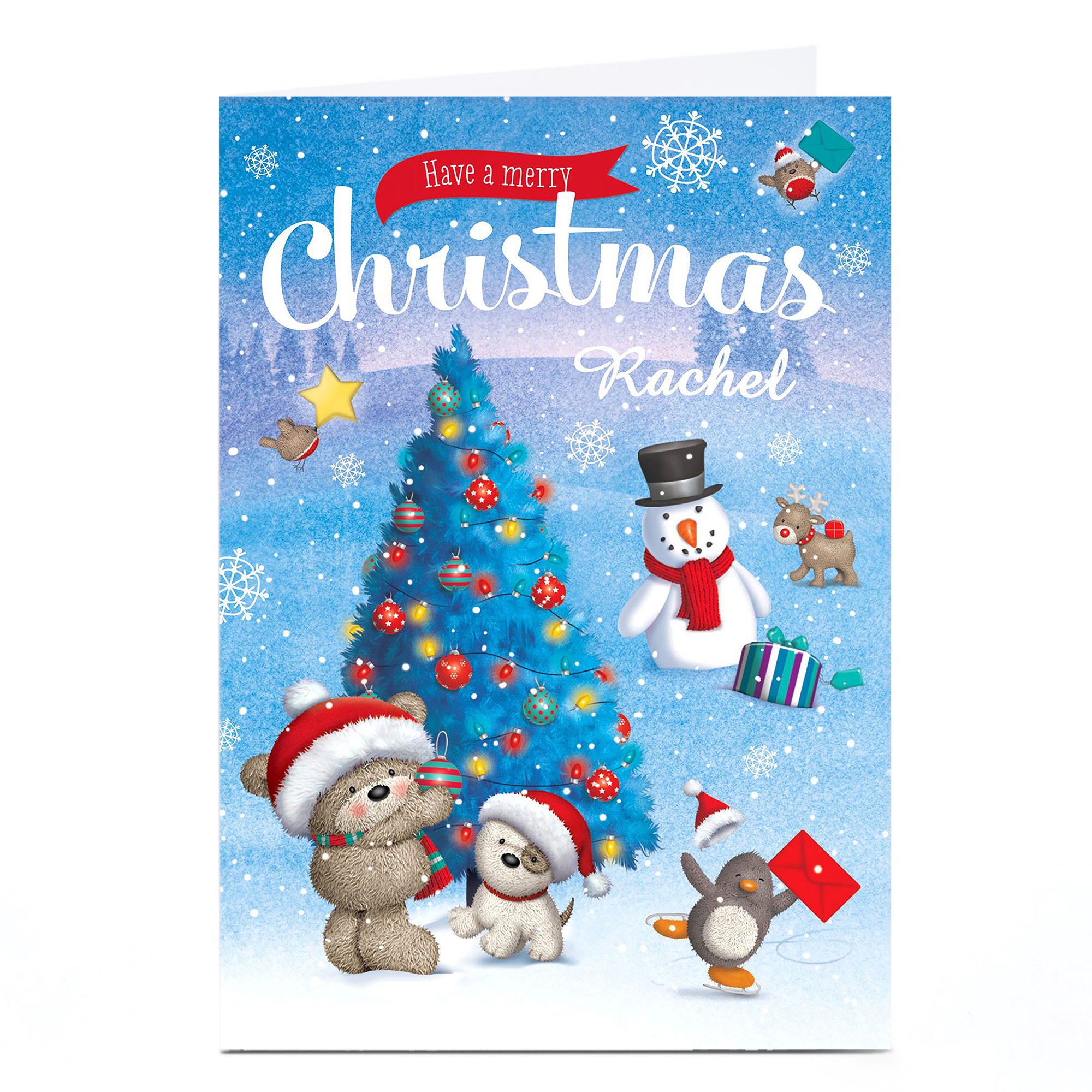 Personalised Hugs Bear Christmas Card - Decorating The Tree