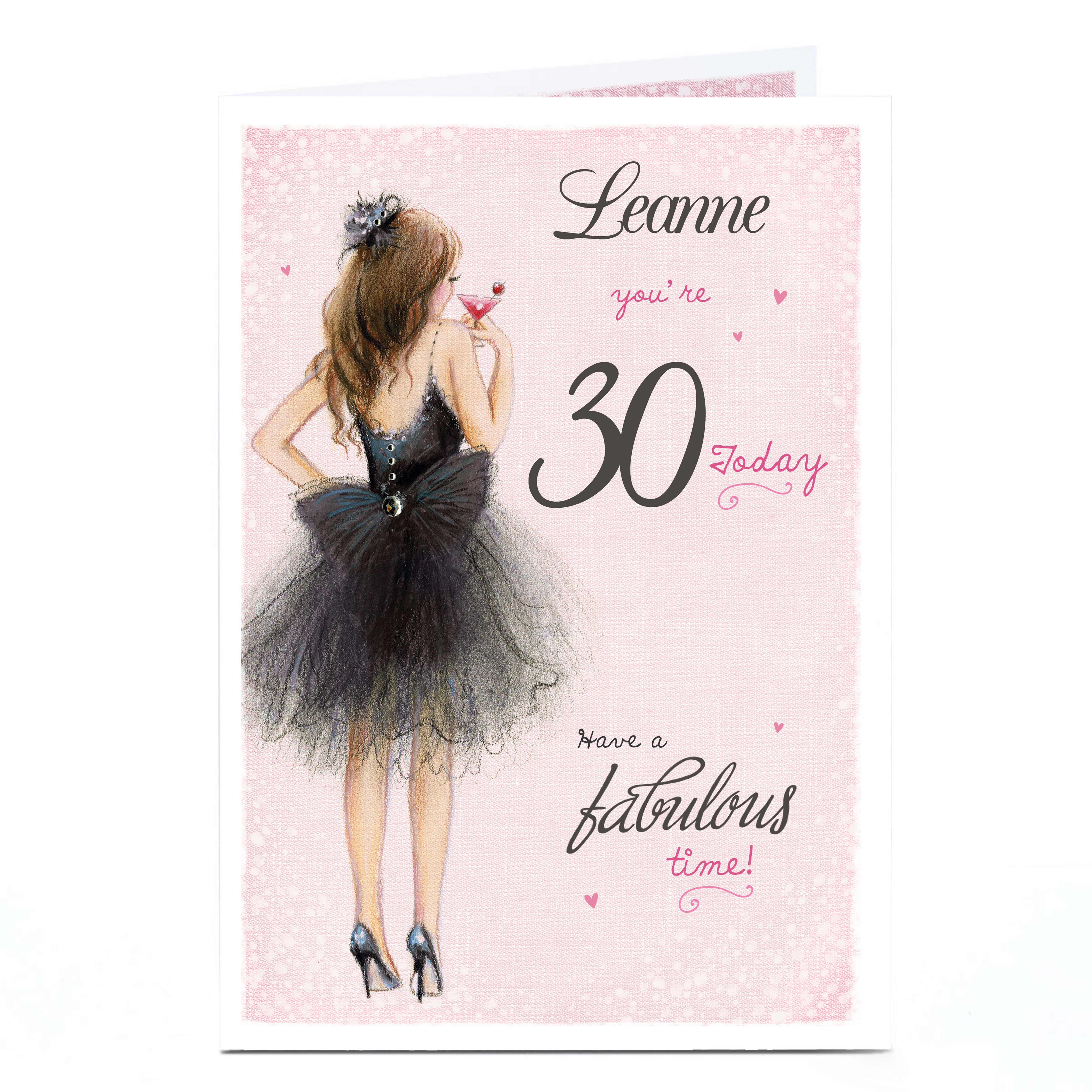 Personalised Any Age Birthday Card - Black Tutu, Any Name