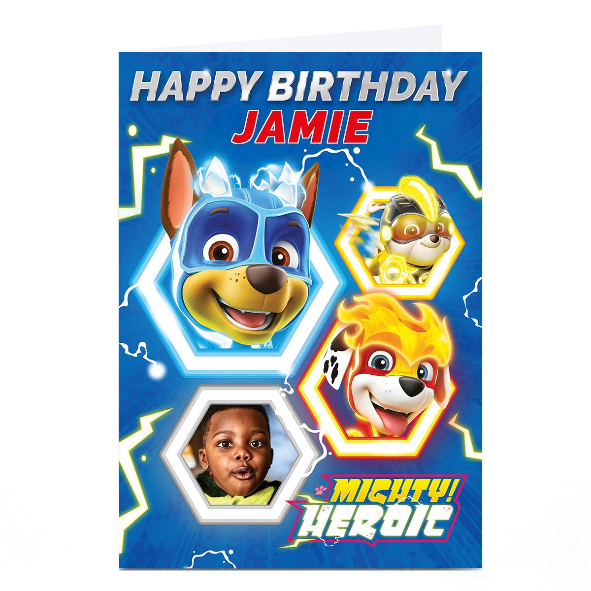 buy photo paw patrol birthday card  mighty heroic pups