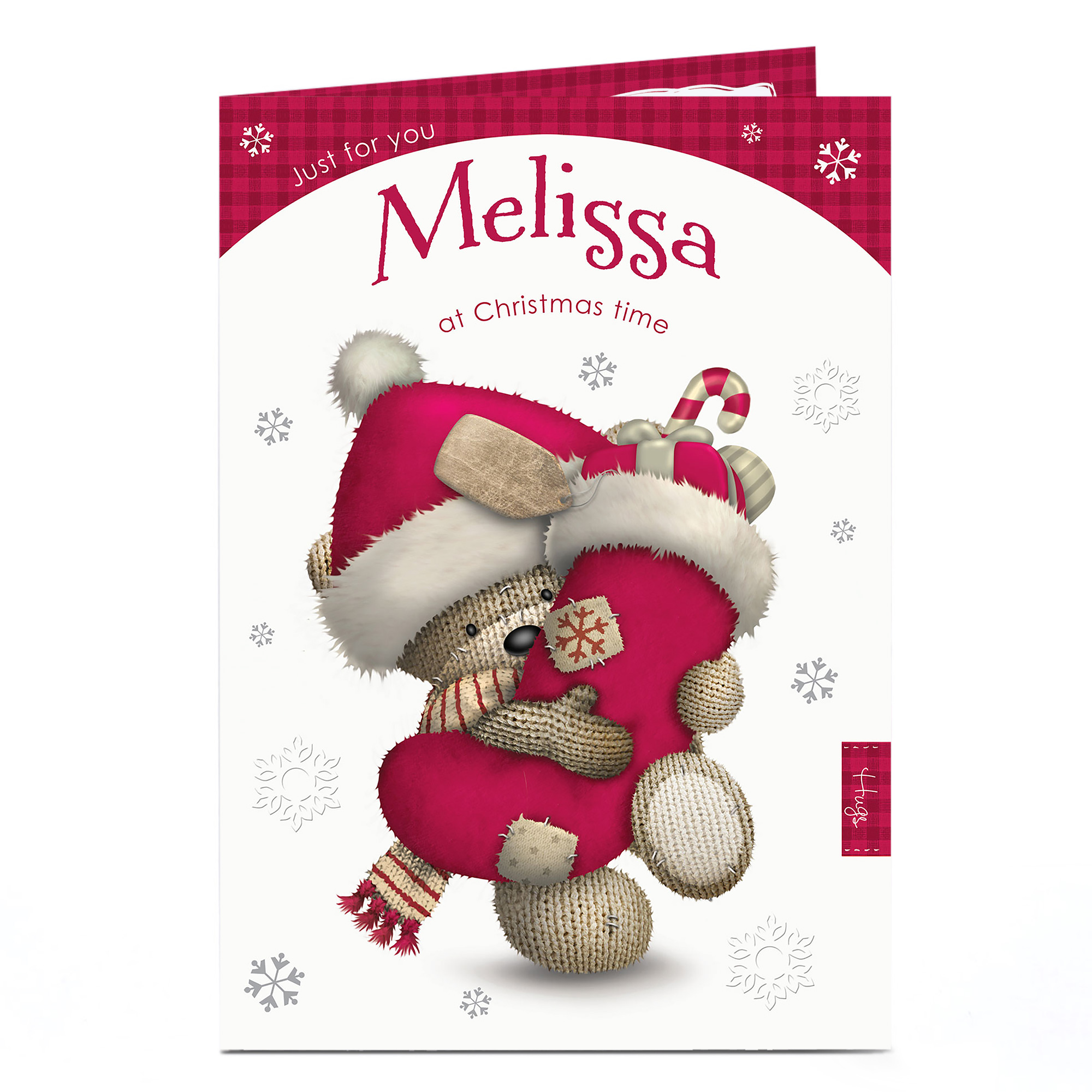 Personalised Hugs Bear Christmas Card - Bear & Stocking