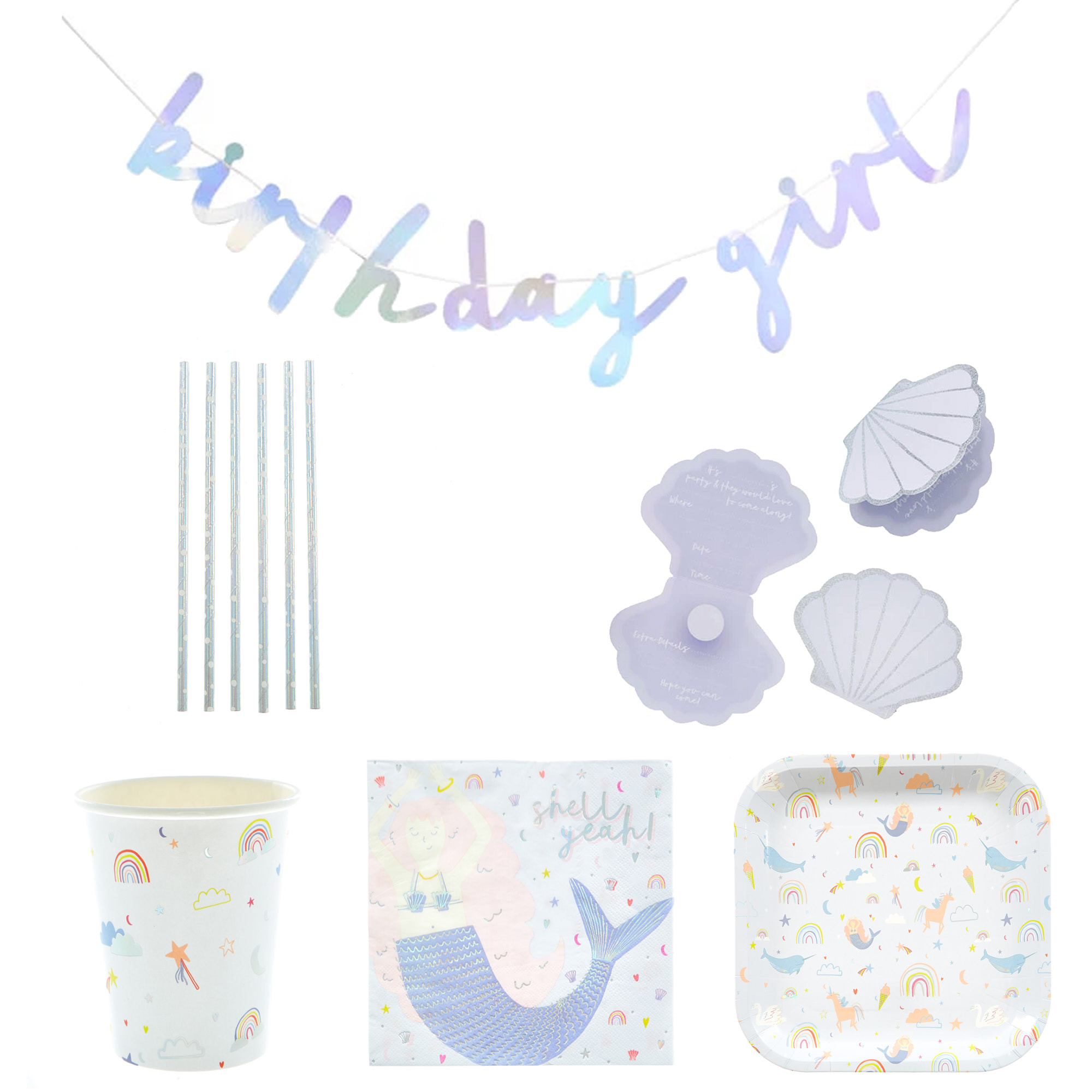 Magical Unicorn Birthday Party Tableware & Decorations Bundle - 66 Pieces