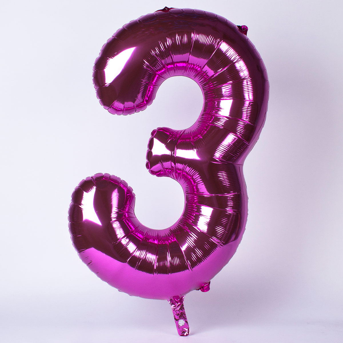 Pink Number 3 Giant Foil Helium Balloon INFLATED