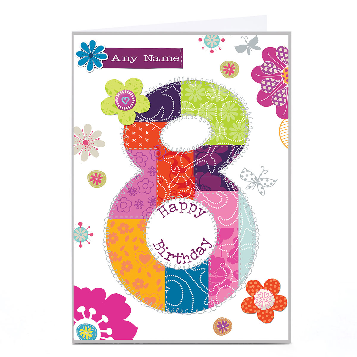 Personalised 8th Birthday Card - Floral Patchwork