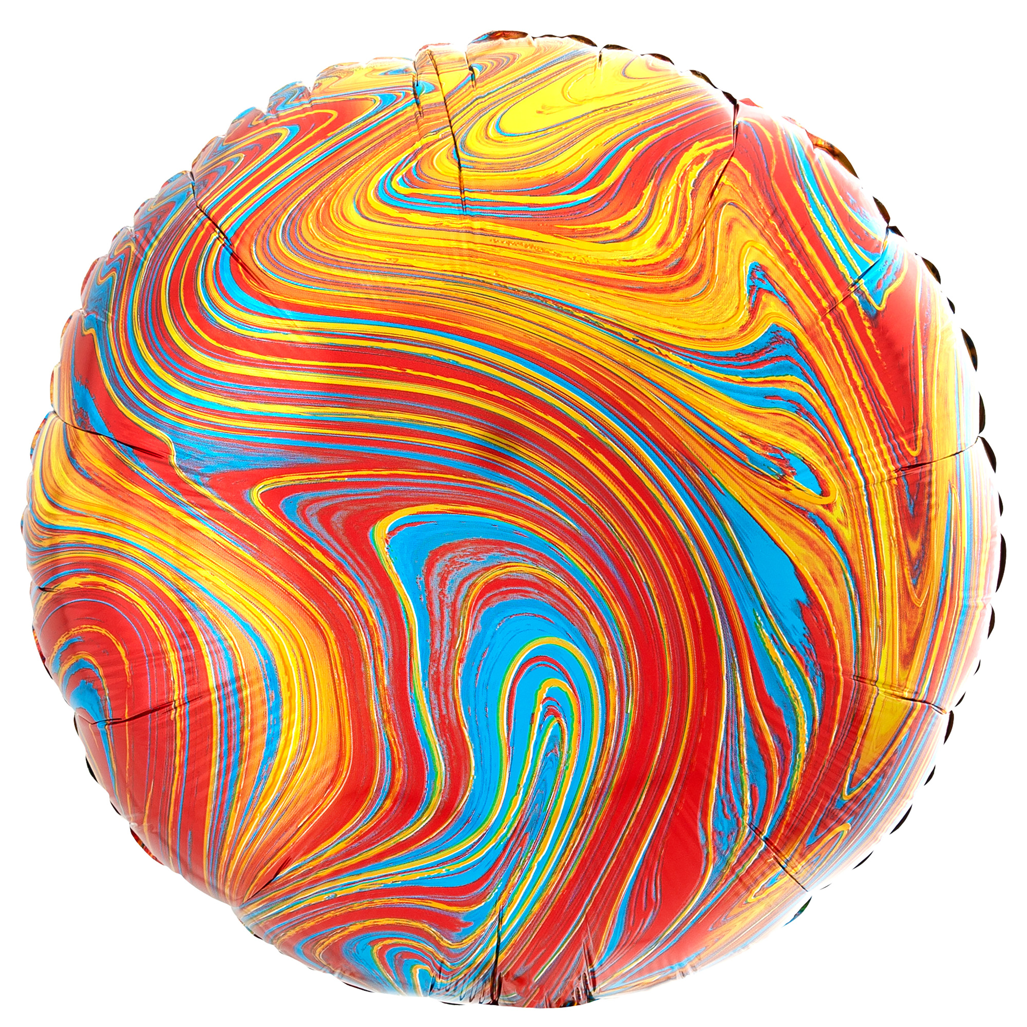 Colourful Marble-Effect 17-Inch Round Foil Helium Balloon