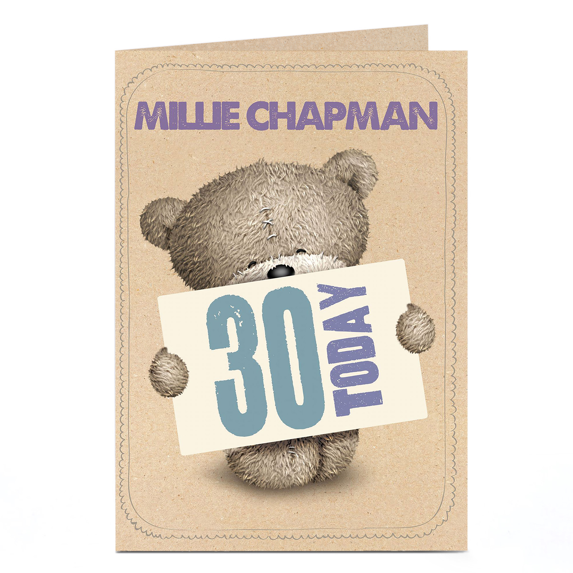 Personalised Hugs Bear 30th Birthday Card - 30 Today