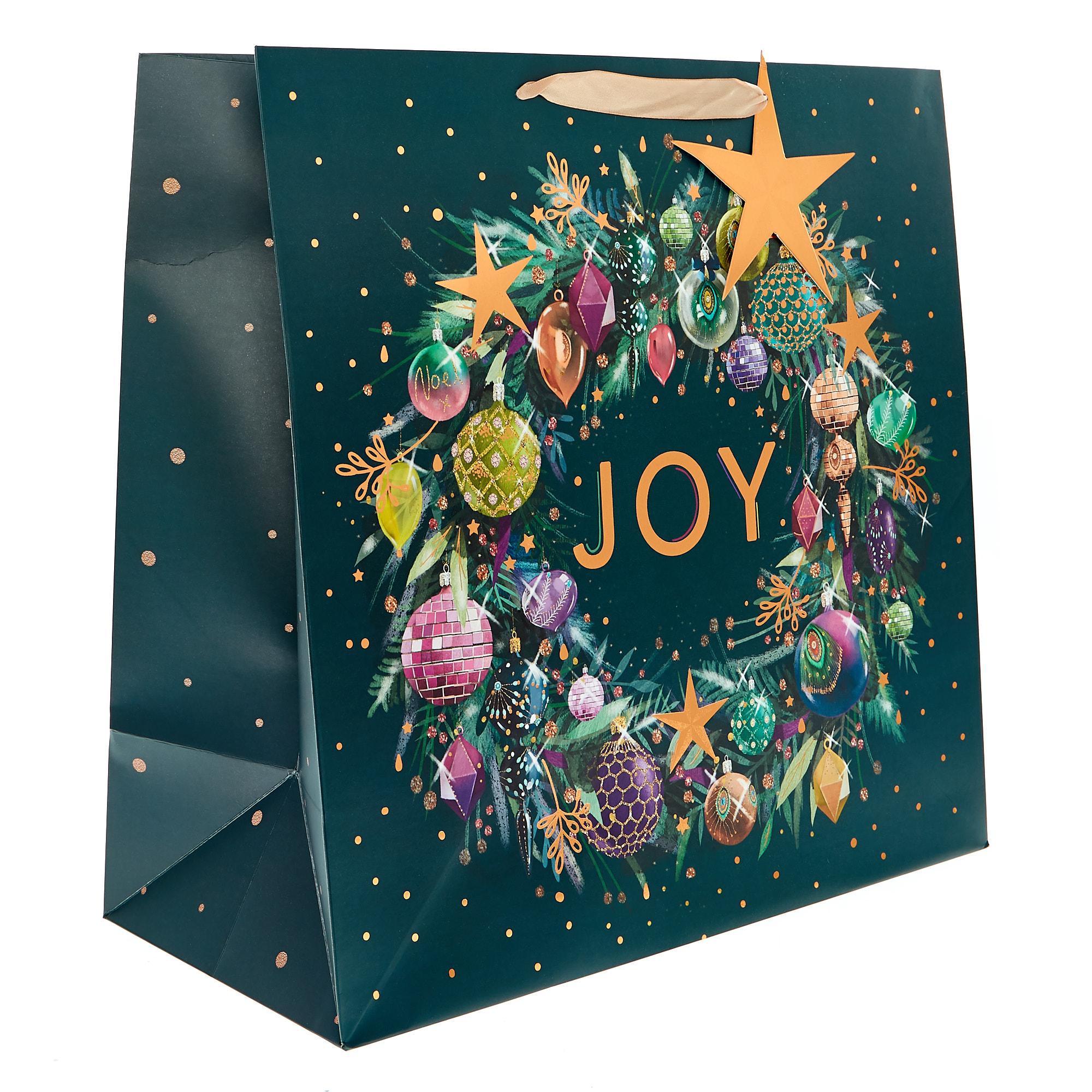 buy giant square festive wreath christmas gift bag for gbp