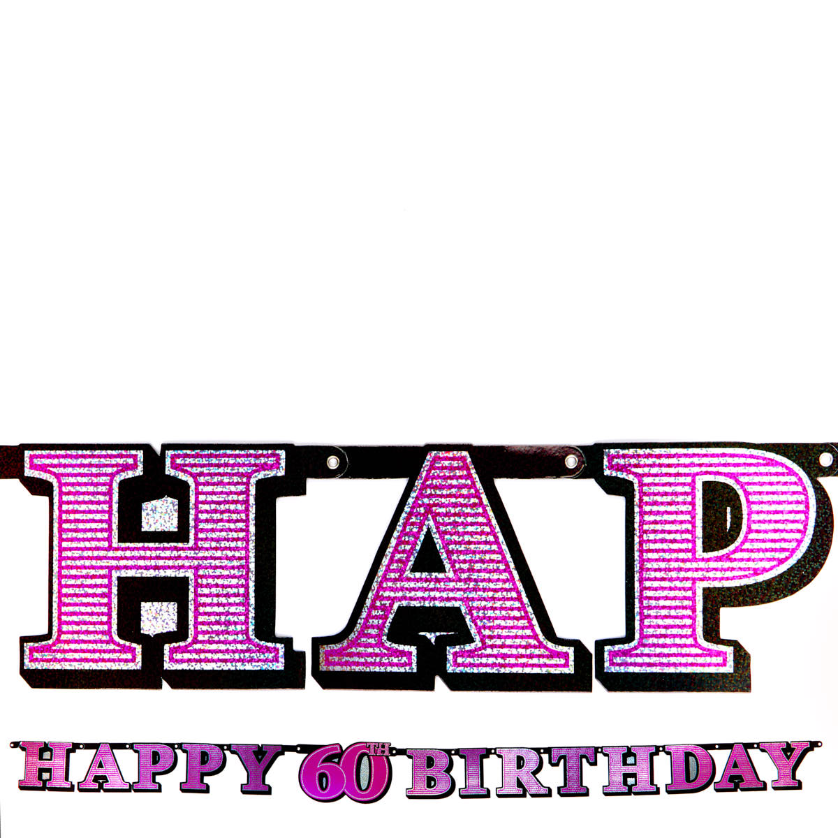 Pink Holographic 60th Birthday Banner