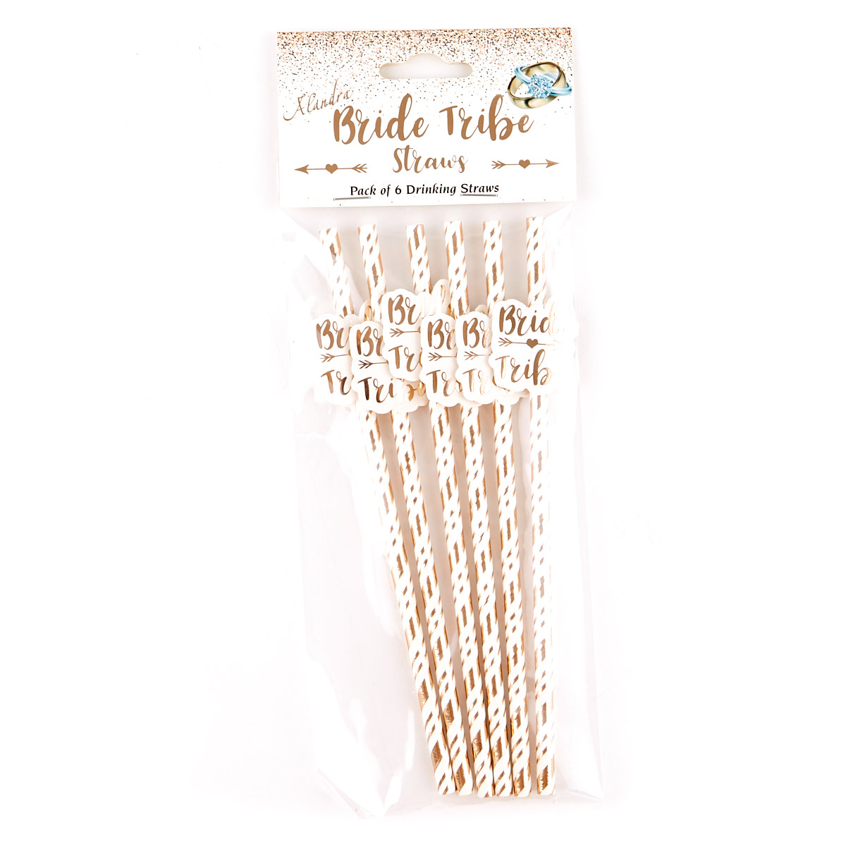 Bride Tribe Rose Gold Paper Drinking Straws - Pack of 6