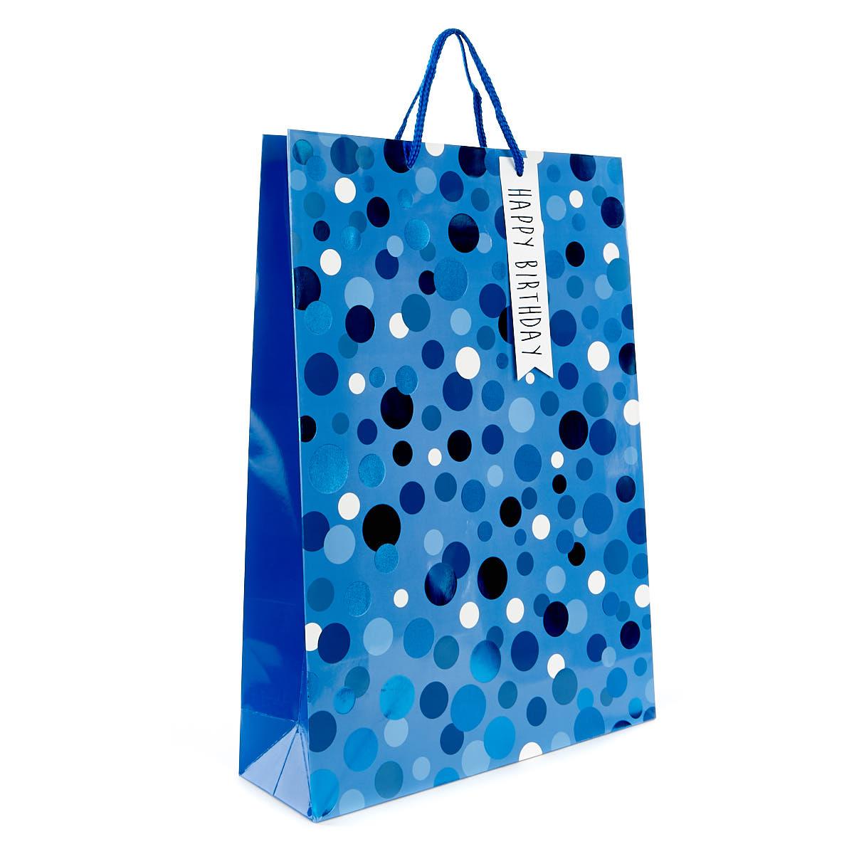 Large Blue Polka Dot Birthday Gift Bag