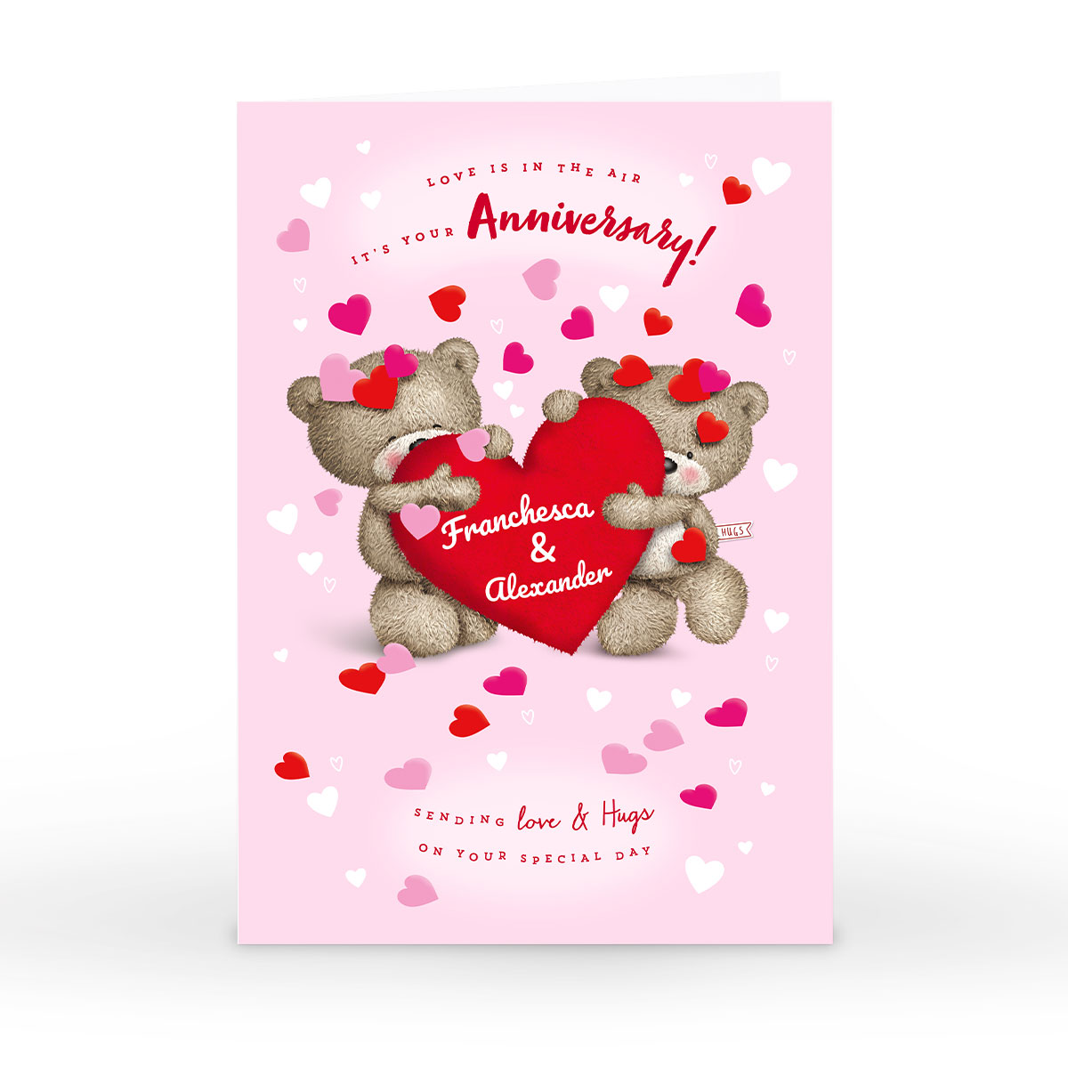 Personalised Hugs Anniversary Card - Love Is In The Air