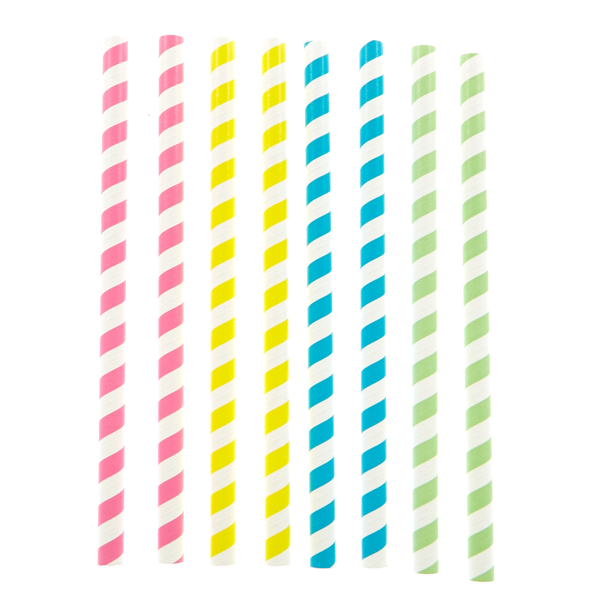 Striped Paper Smoothie Straws - Pack Of 10 Assorted