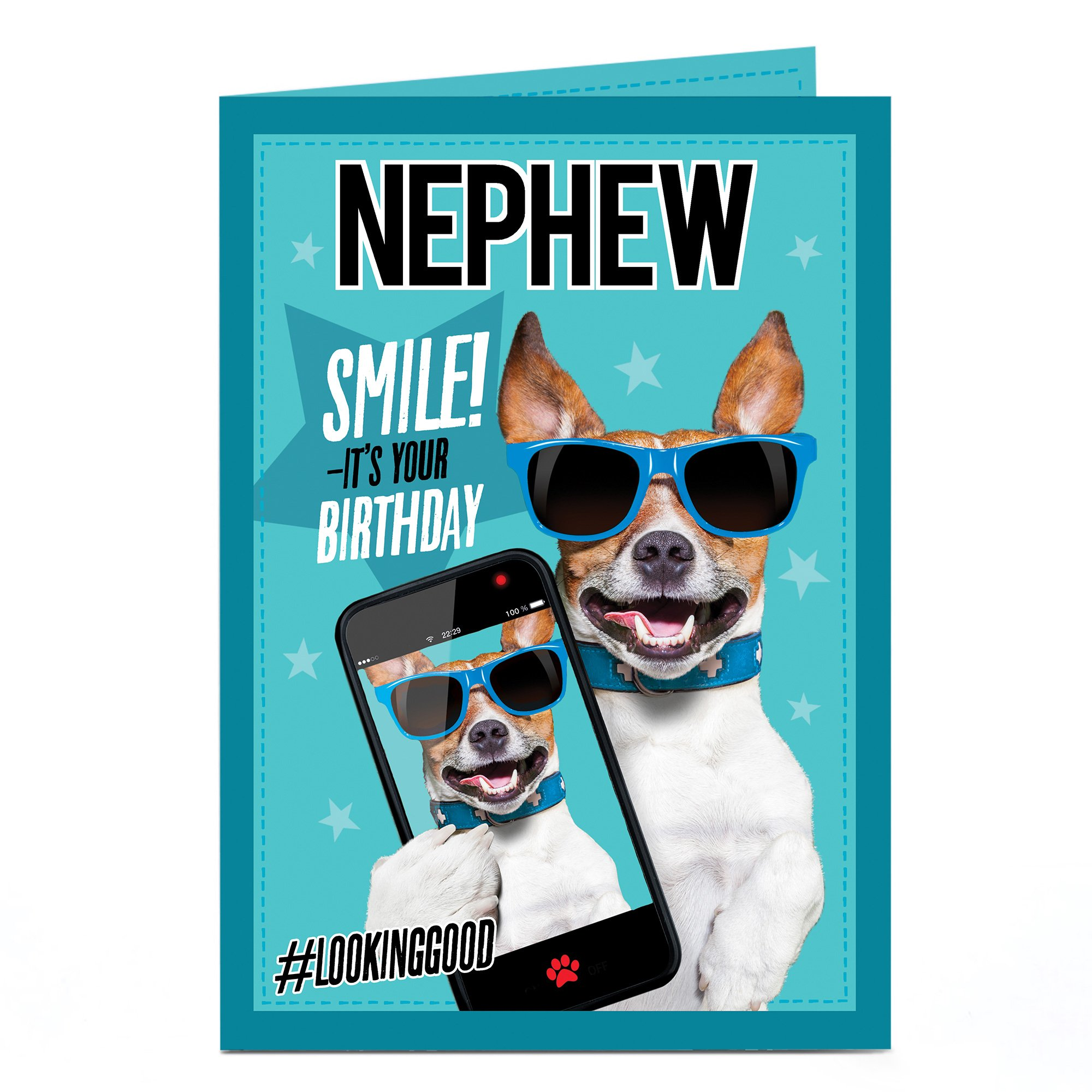 Personalised Birthday Card - Dog In Sunglasses Selfie, Any Name
