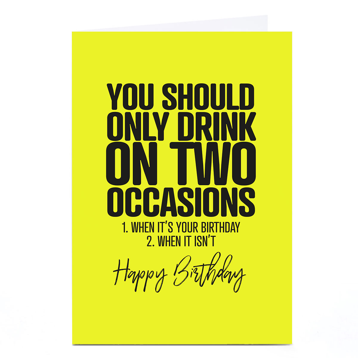 Personalised Punk Birthday Card - Drink On 2 Occasions