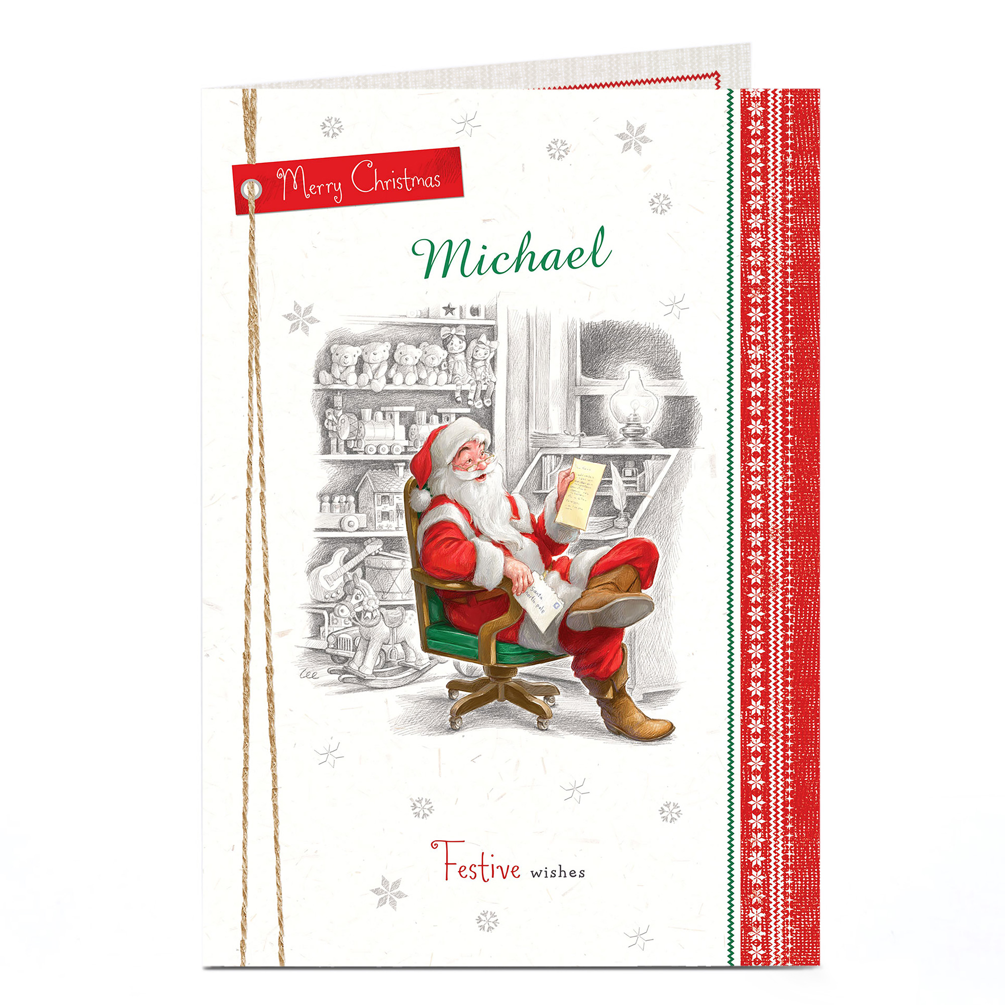 Personalised Christmas Card - Festive Wishes