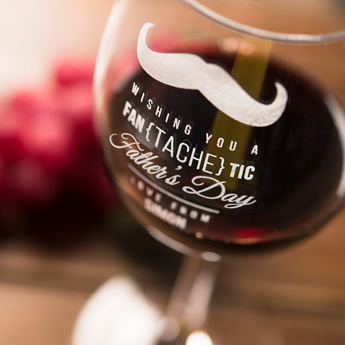Personalised Fan{tache}tic Father's Day Wine Glass