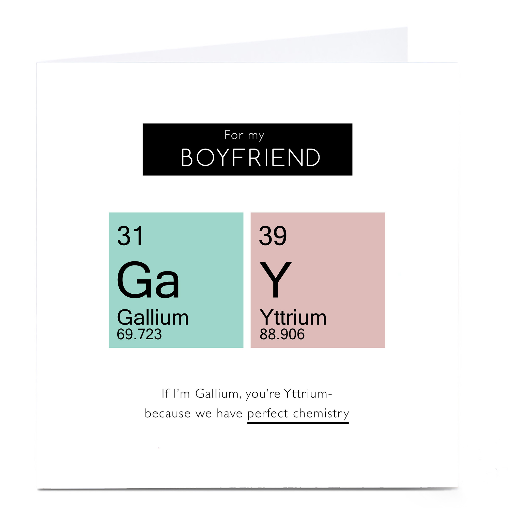 Personalised Valentine's Card - Boyfriend, Perfect Chemistry