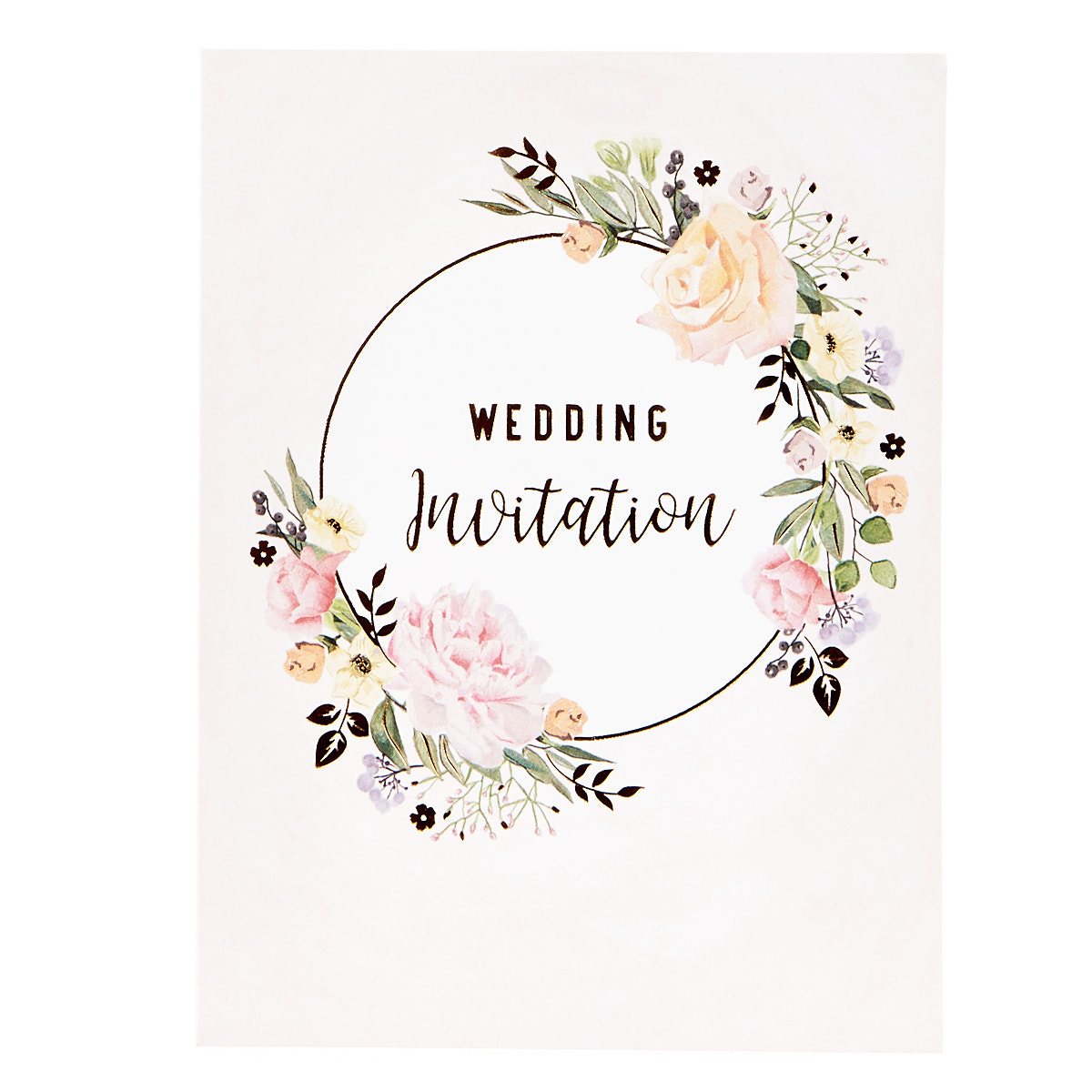 Floral Pink Wedding Invitations - Pack of 12