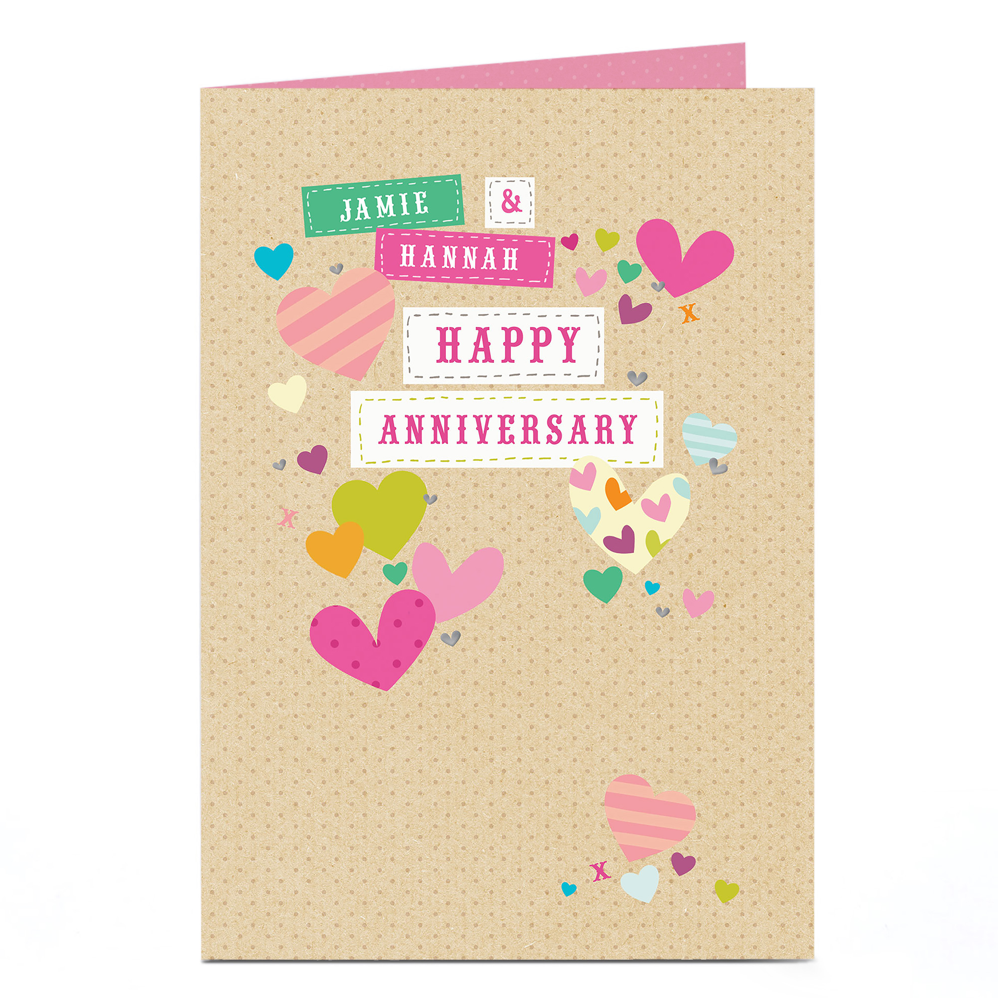 Personalised Anniversary Card - Pretty Hearts